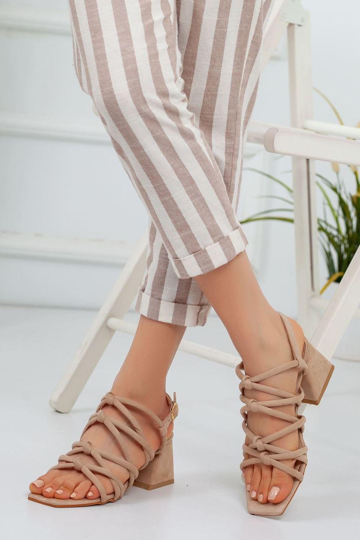 Kadın Dante Kısa Topuklu Ayakkabı Vizon Süet
