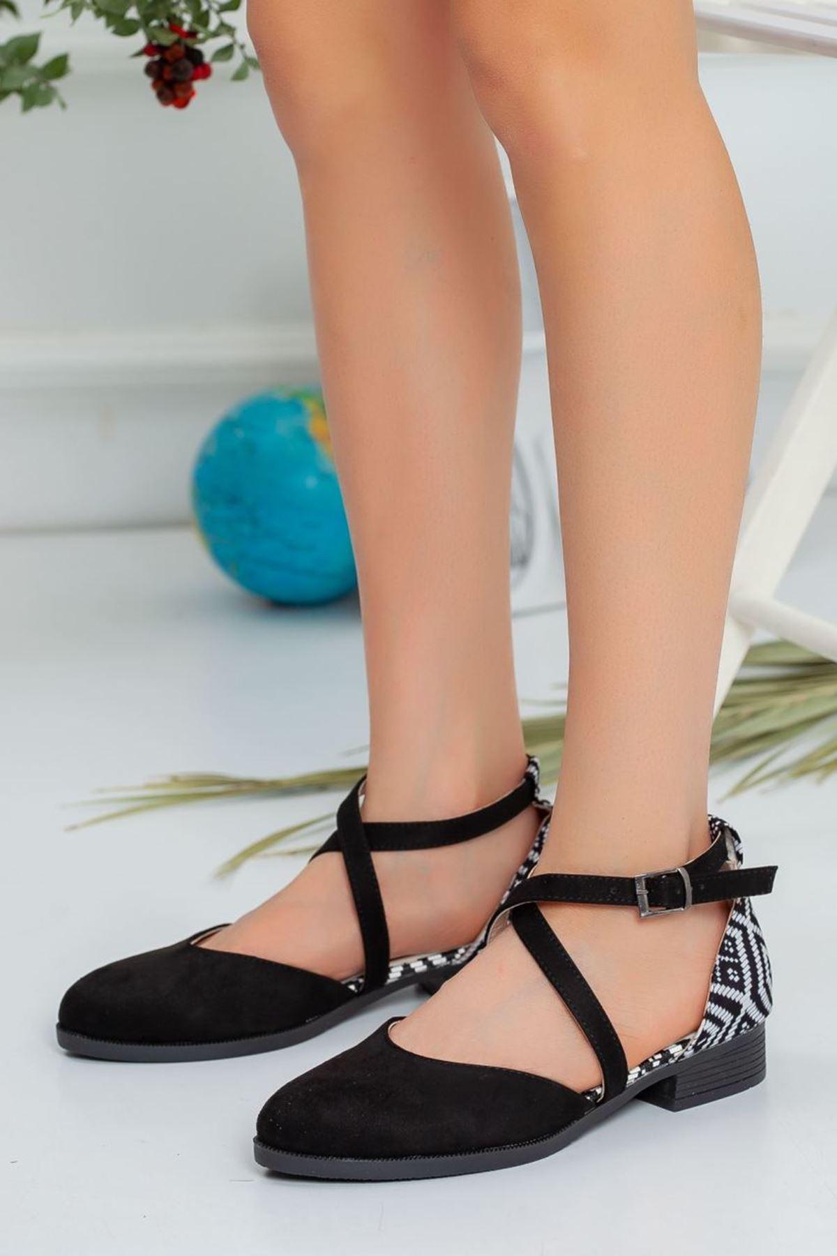 Kadın Rima Süet Arka Desenli Günlük Ayakkabı Siyah