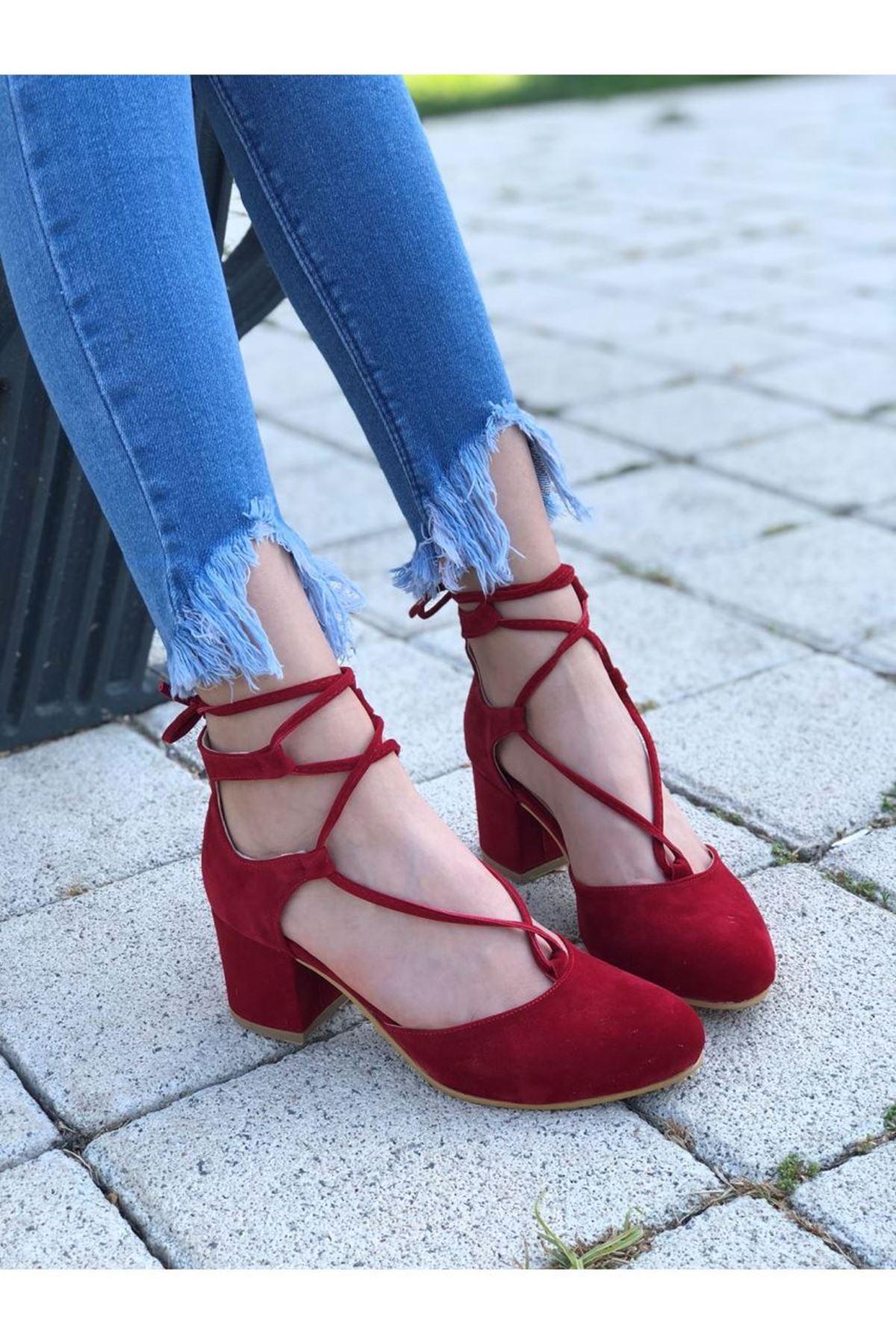 Kadın Putes Kısa Topuk Günlük Ayakkabı Kırmızı