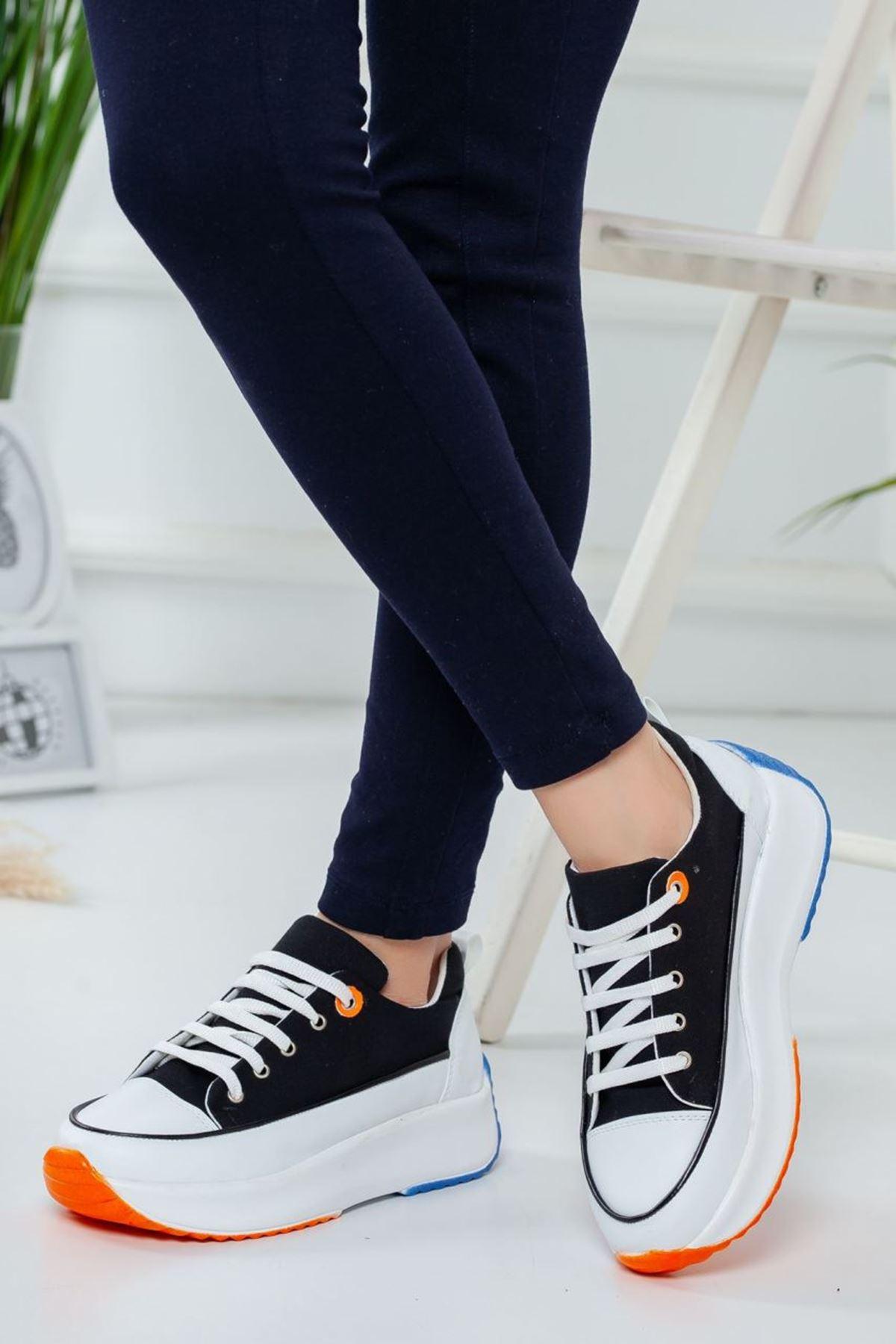 Kadın Casper Kalın Taban Spor Ayakkabı Beyaz Siyah Kot