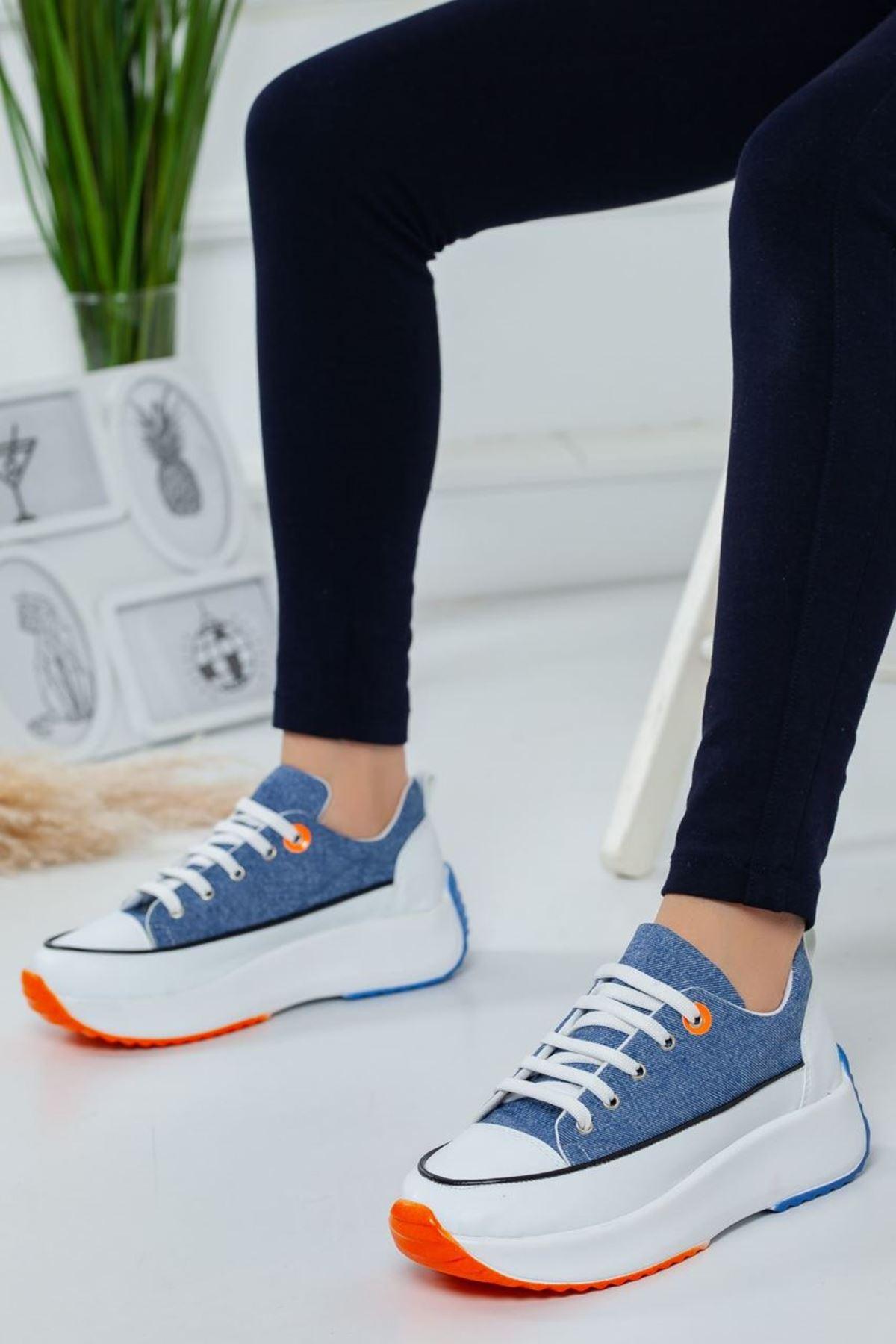 Kadın Casper Kalın Taban Spor Ayakkabı Beyaz Lacivert Kot