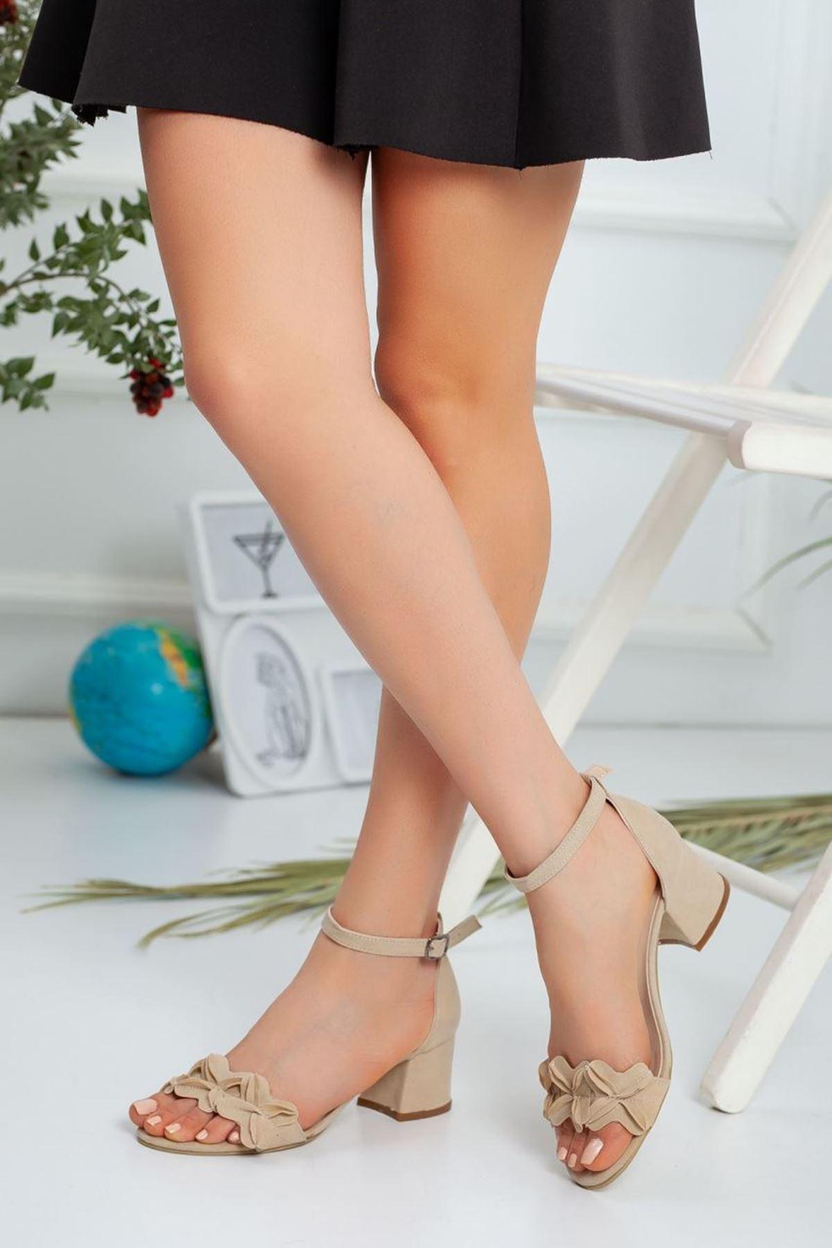 Kadın Sala Kısa Topuklu Ayakkabı Ten Süet