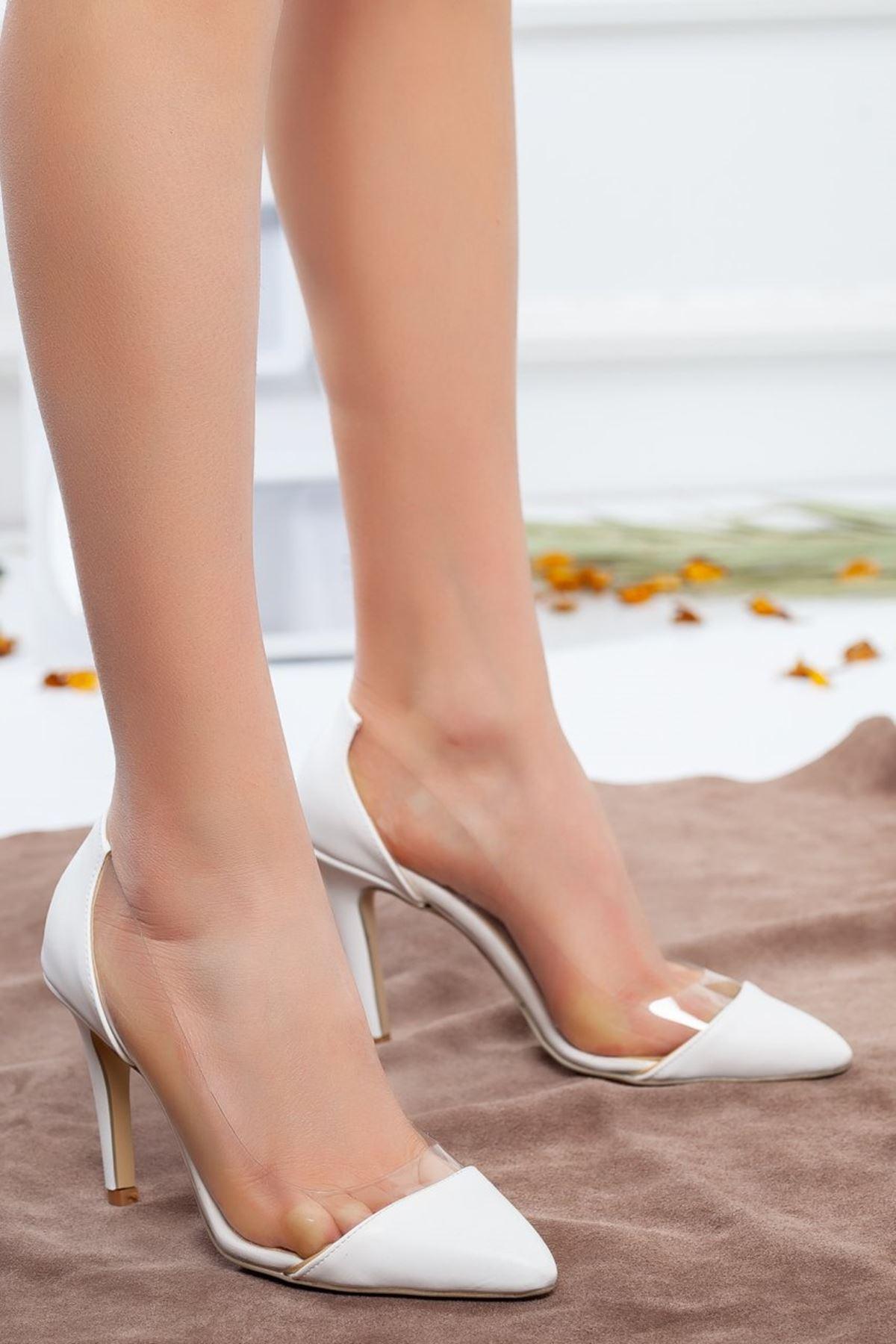 Kadın Elsa Şeffaf Detay Stiletto Beyaz