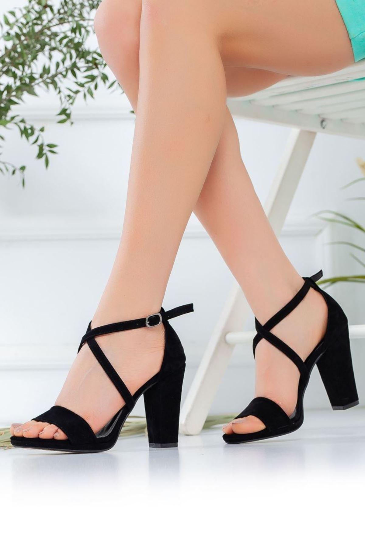 Kadın Aver Süet Topuklu Ayakkabı Siyah