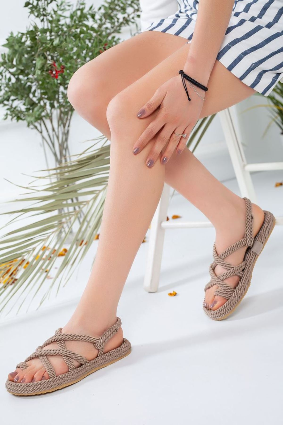 Kadın Sandi Halat Sandalet Vizon