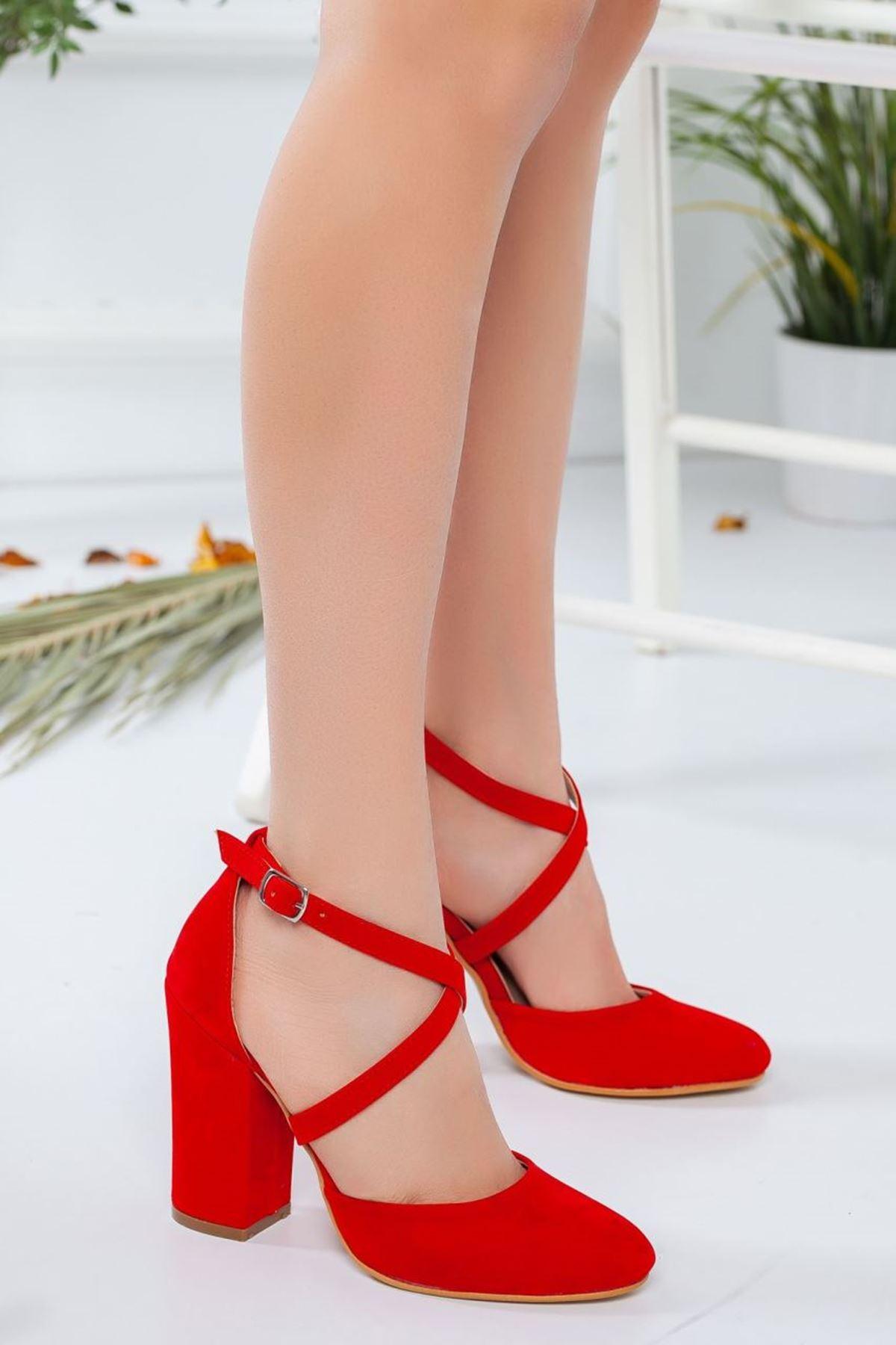 Kadın Zine Topuklu Ayakkabı Kırmızı