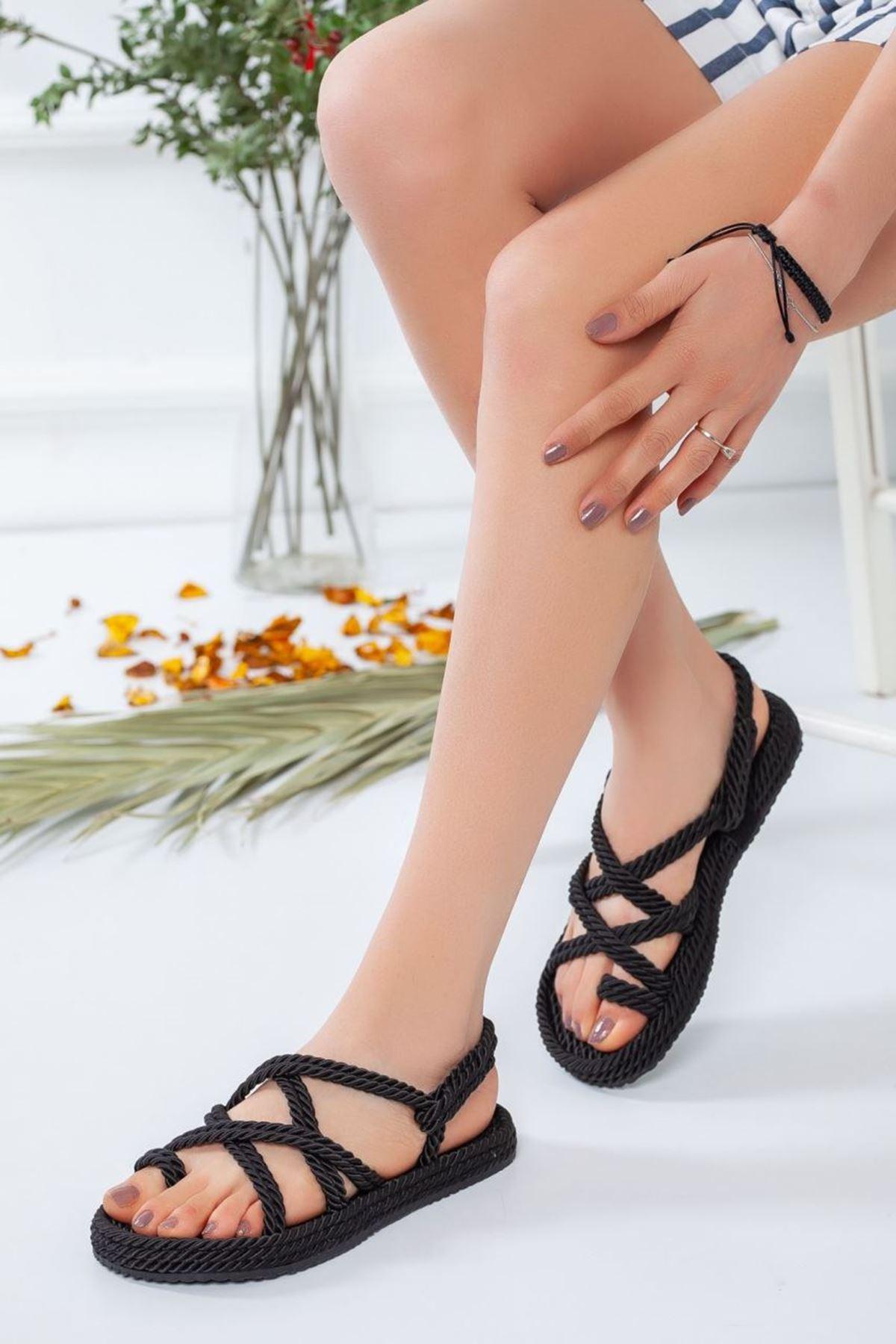 Kadın Sandi Halat Sandalet Siyah
