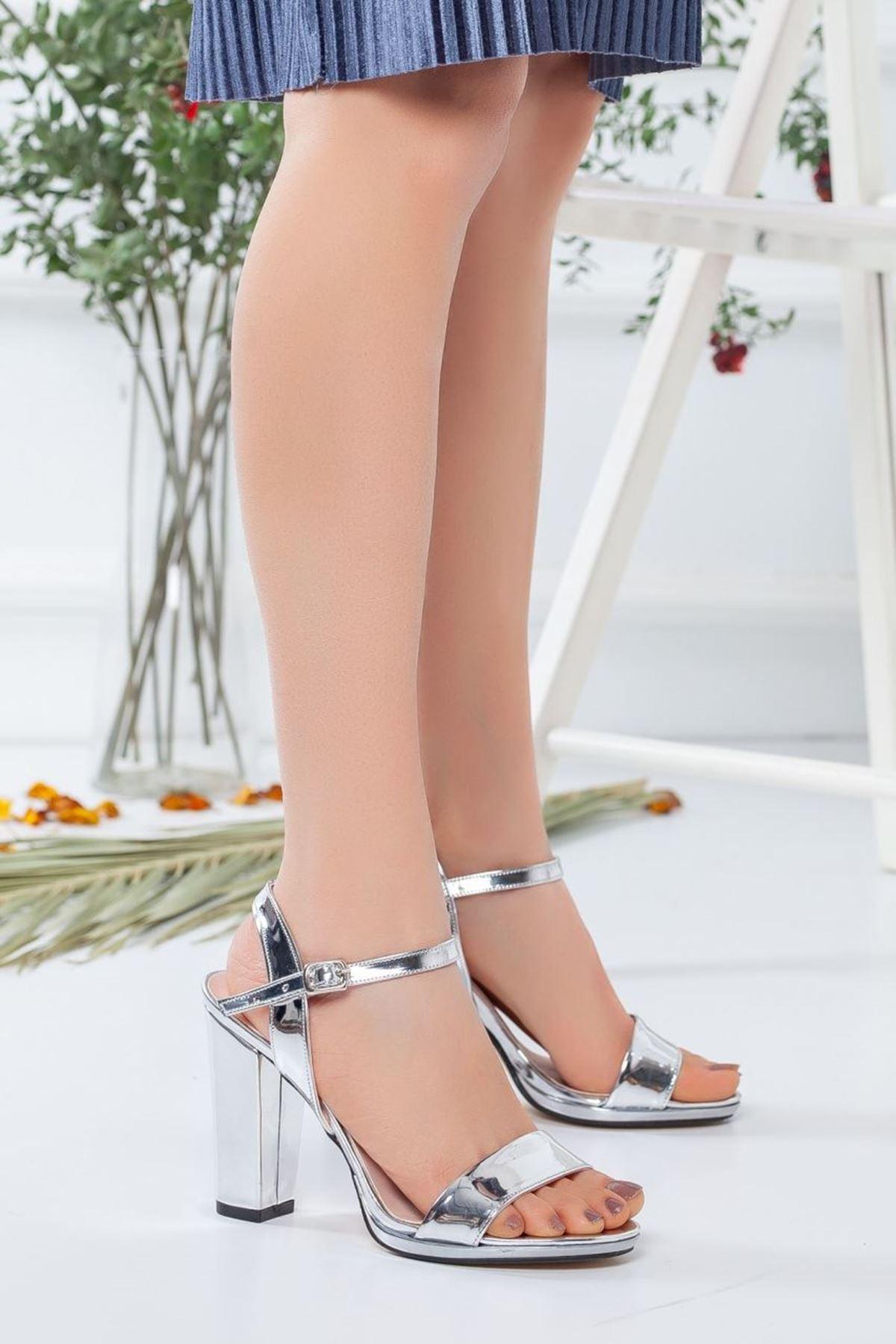 Kadın Enigma Topuklu Ayakkabı Gümüş