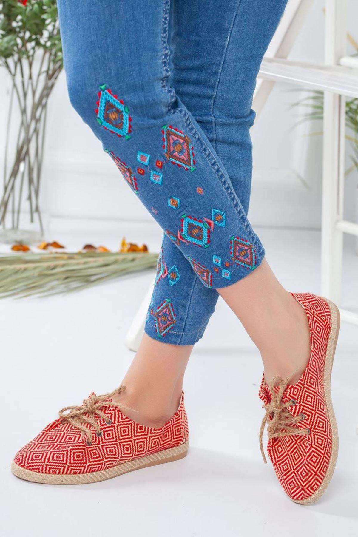 Kadın Tolero Tekstil Malzeme Kadın Günlük Ayakkabı Kırmızı Desenli