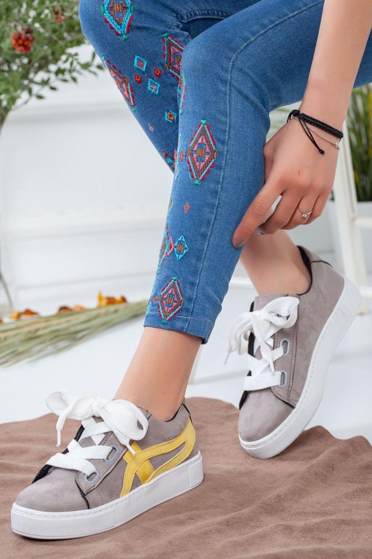 Kadın Salind Spor Ayakkabı Gri Sarı