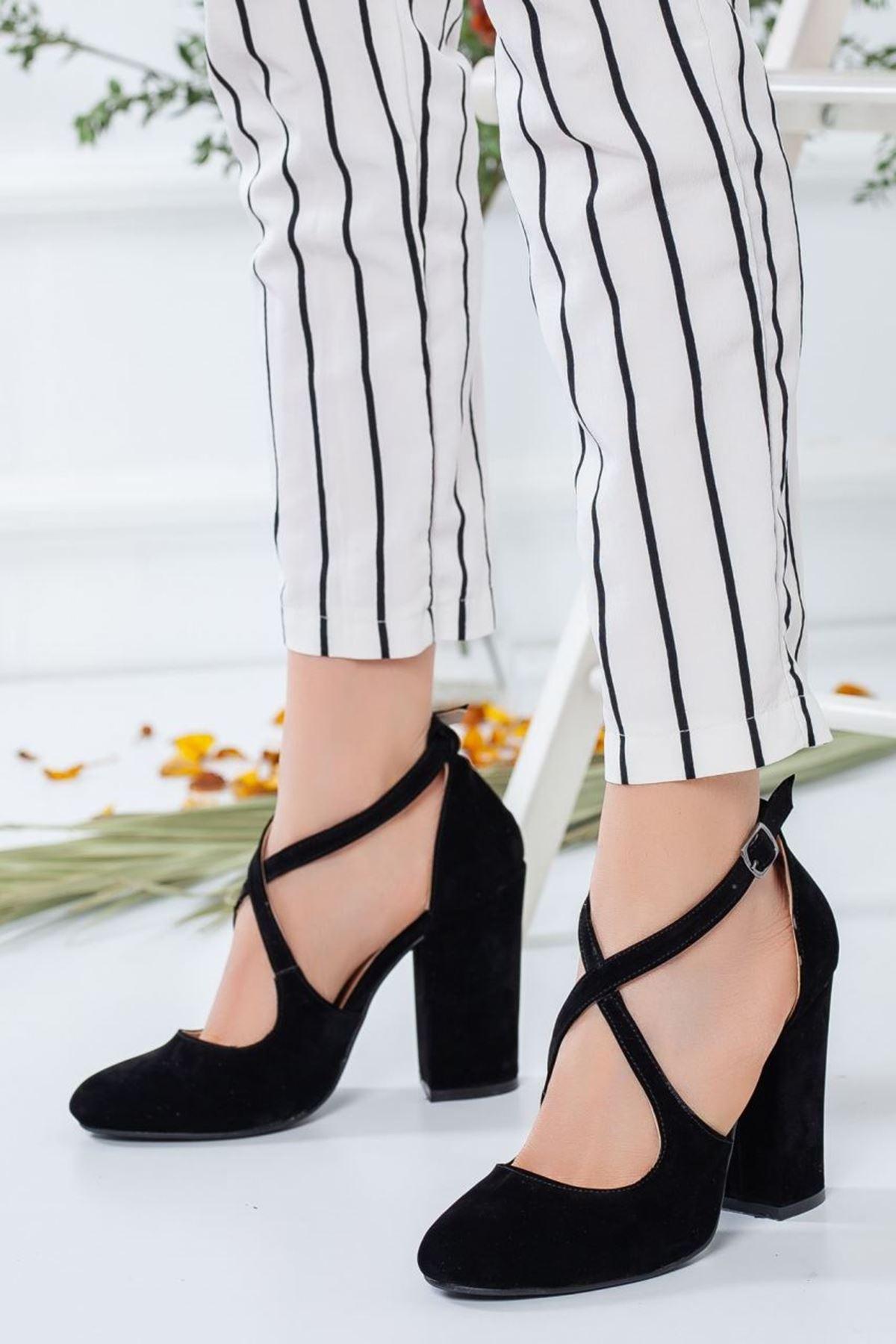 Kadın Simor Süet Topuklu Ayakkabı Siyah