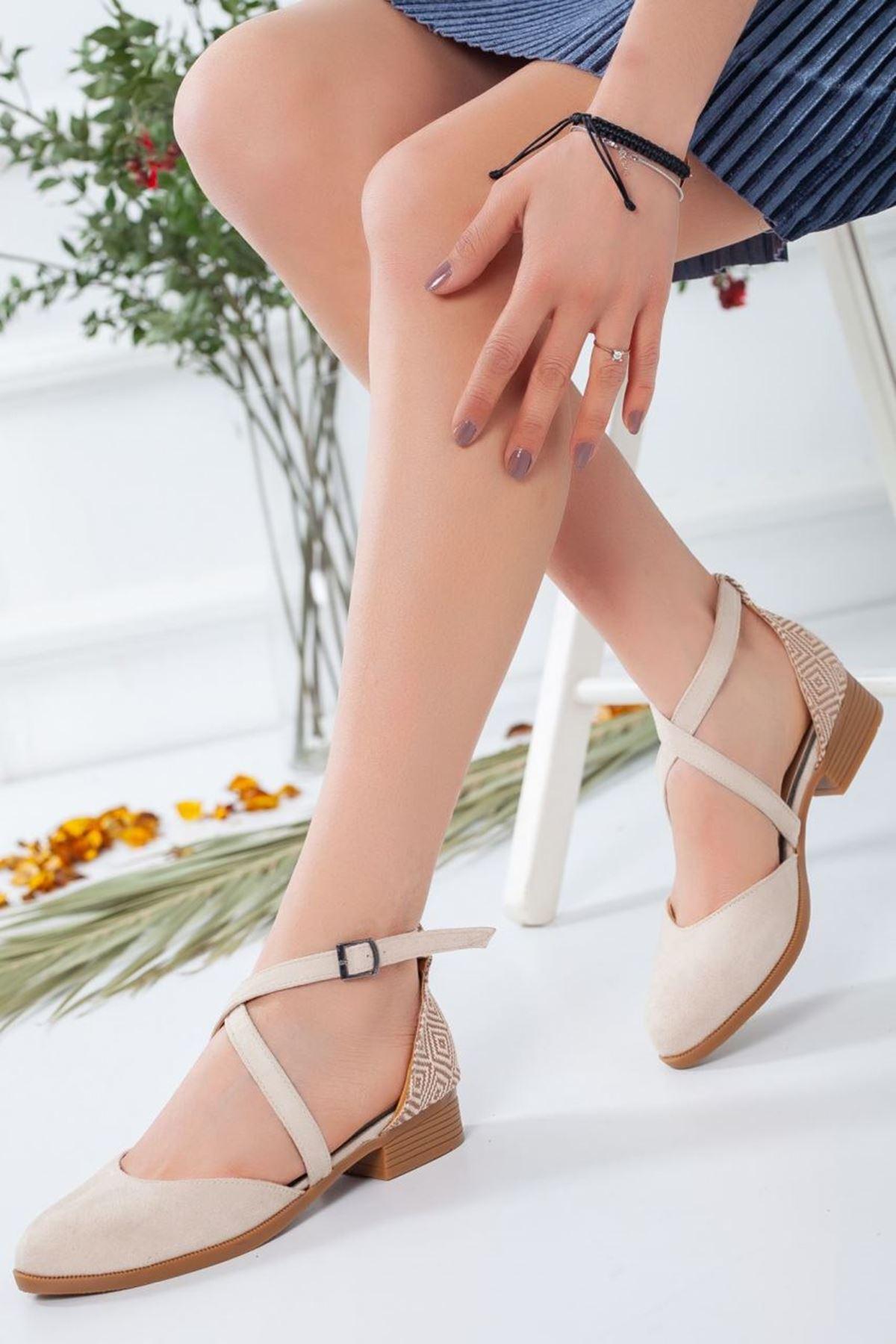 Kadın Rima Süet Arka Desenli Günlük Ayakkabı Vizon