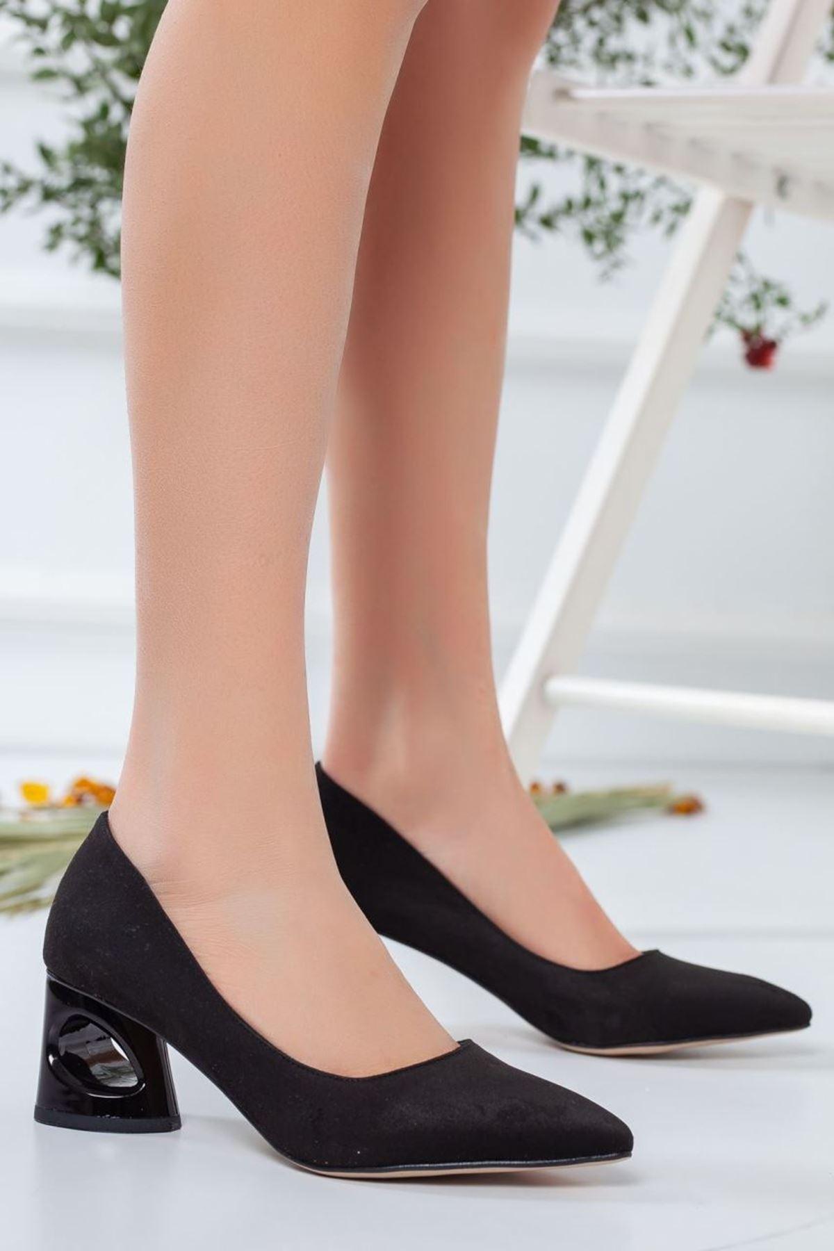 Kadın Puke Süet Kısa Topuklu Ayakkabı Günlük Siyah