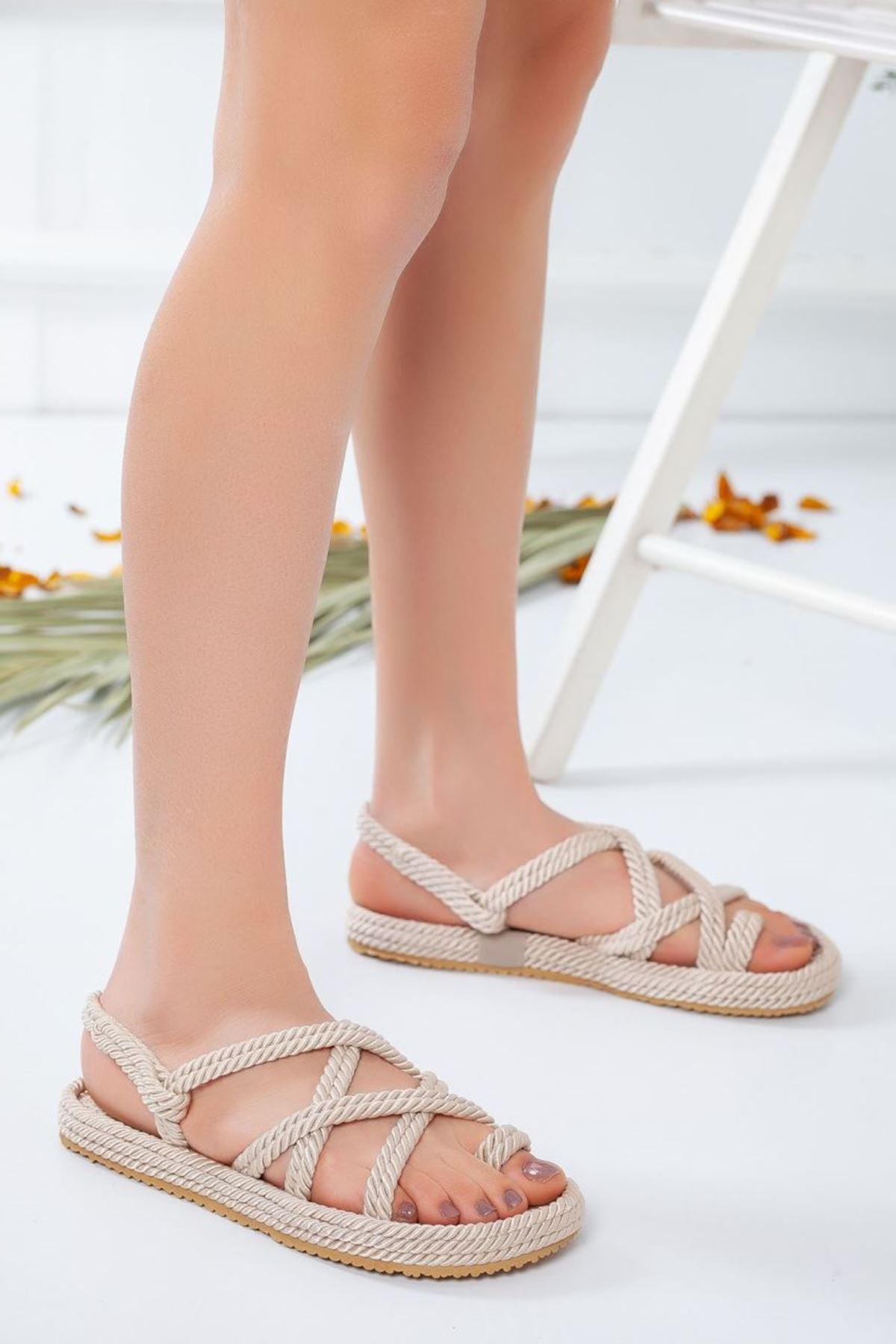Kadın Sandi Halat Sandalet Krem