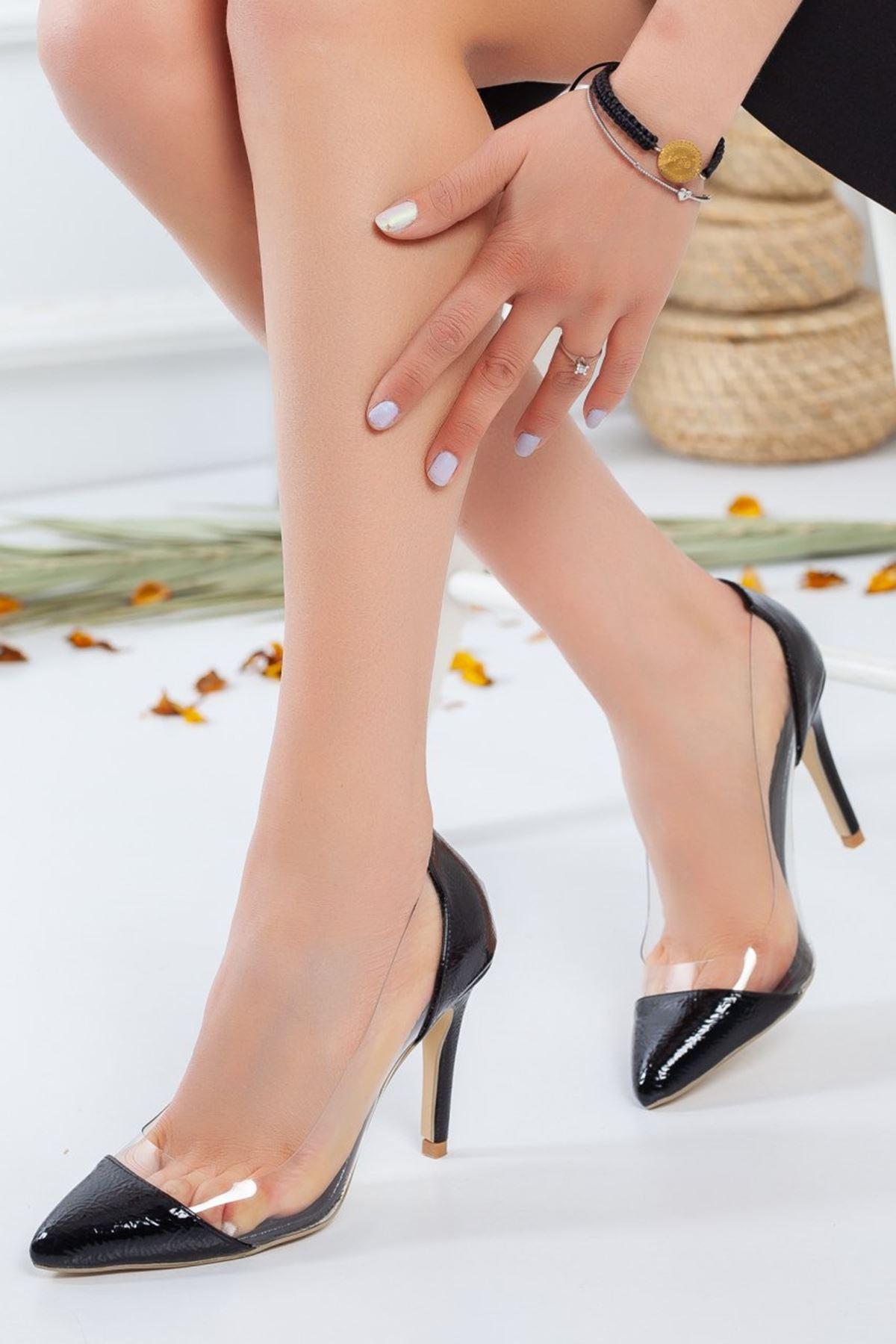 Kadın Elsa Şeffaf Detay Stiletto Siyah Rugan