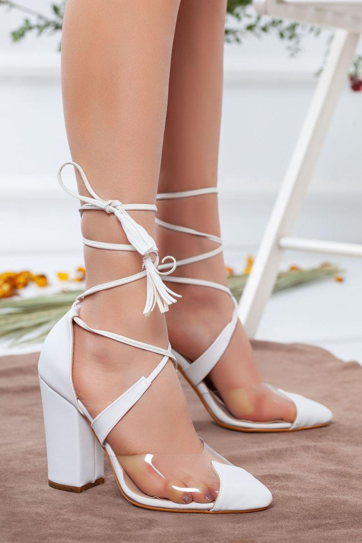 Kadın Appus Şeffaf Topuklu Ayakkabı Beyaz