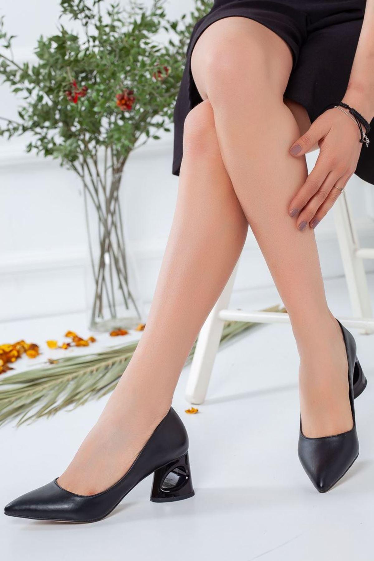 Kadın Puke Mat Deri  Kısa Topuklu Ayakkabı Günlük Siyah