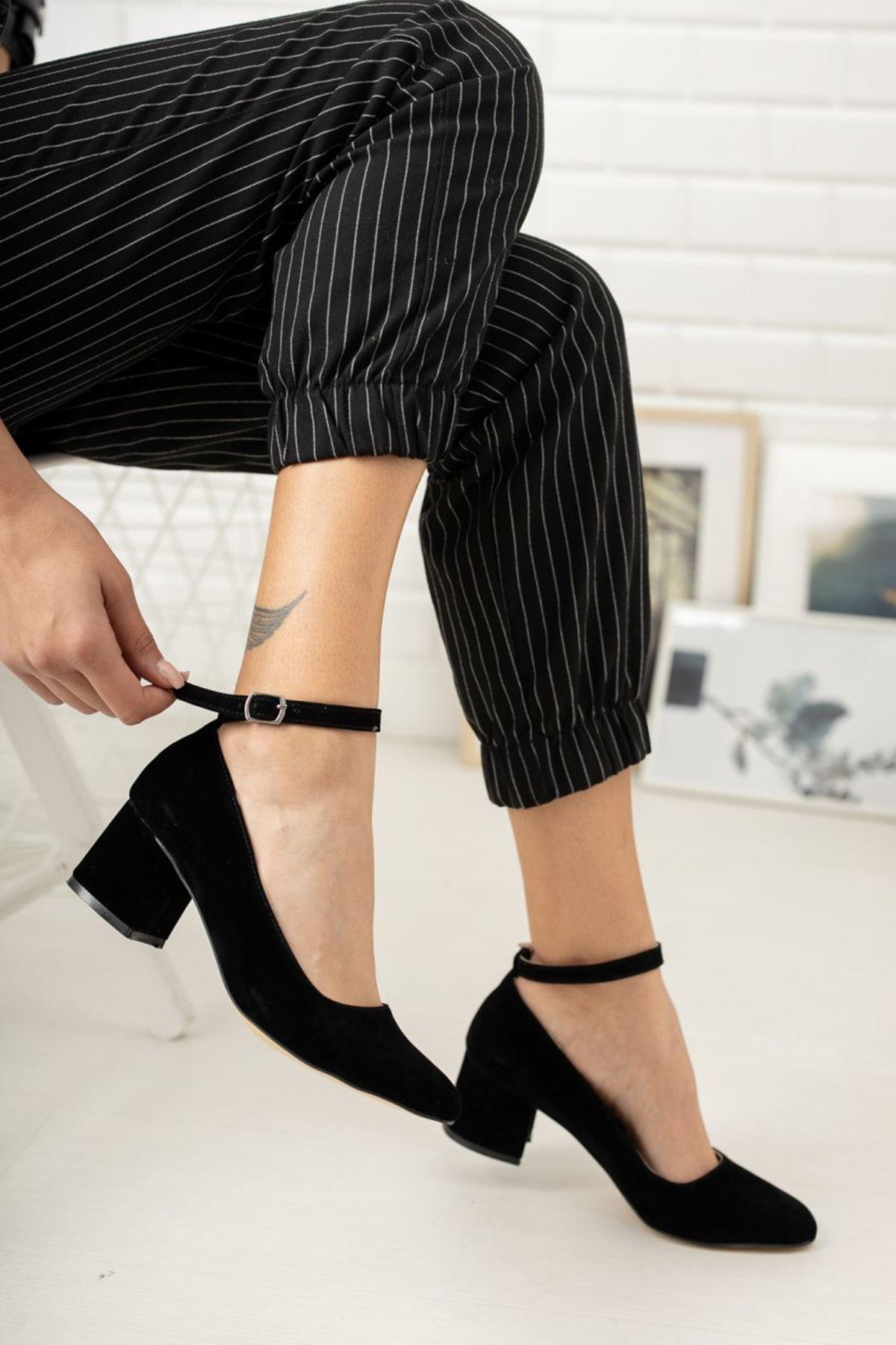 Kadın Barelo Siyah Süet Kısa Topuklu Ayakkabı
