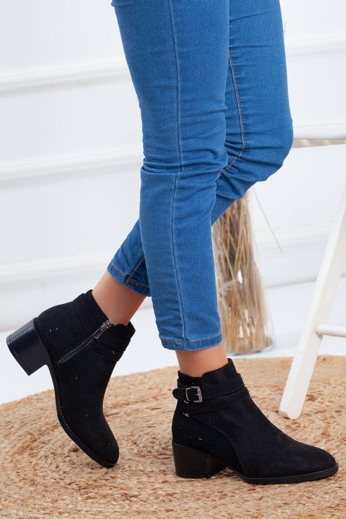 Kadın Zenam Kısa Topuklu Toka Detay Siyah Süet Bot