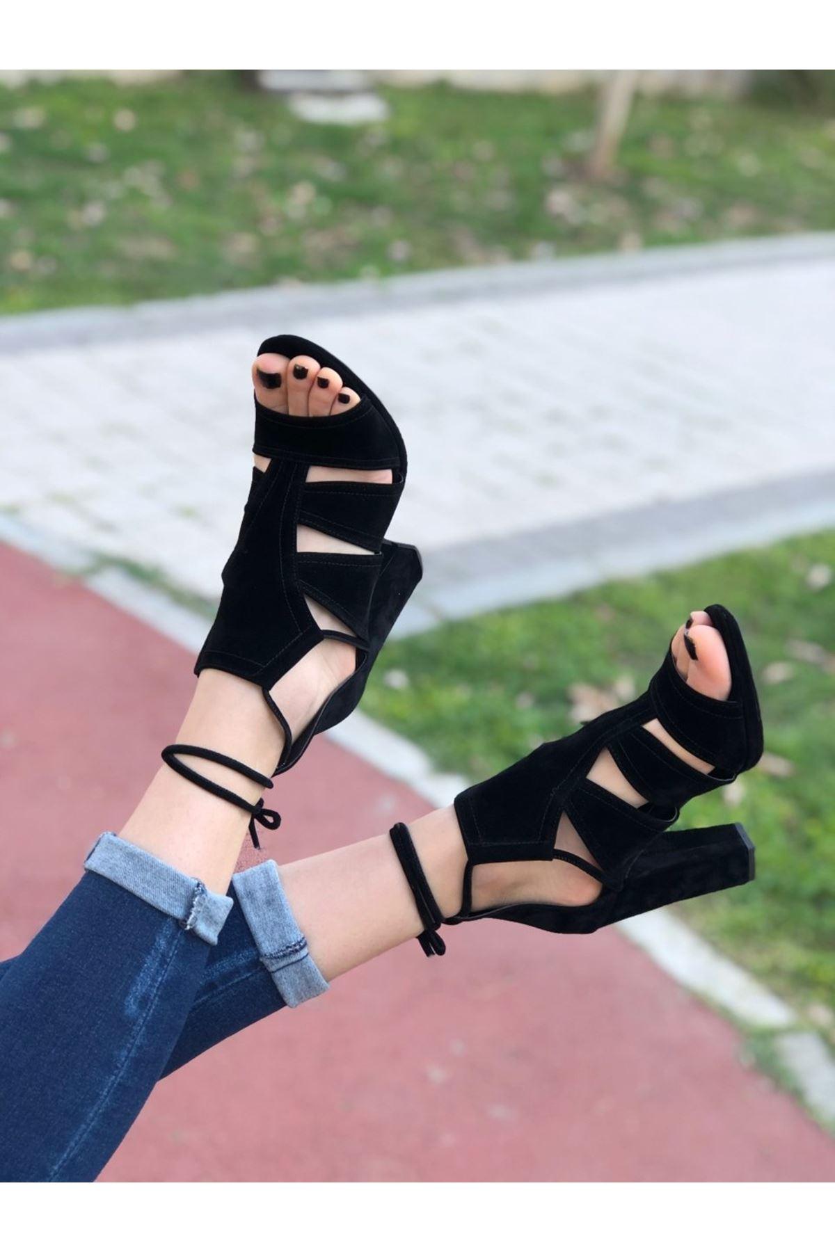 Kadın Risyen  Süet Topuklu Ayakkabi Siyah