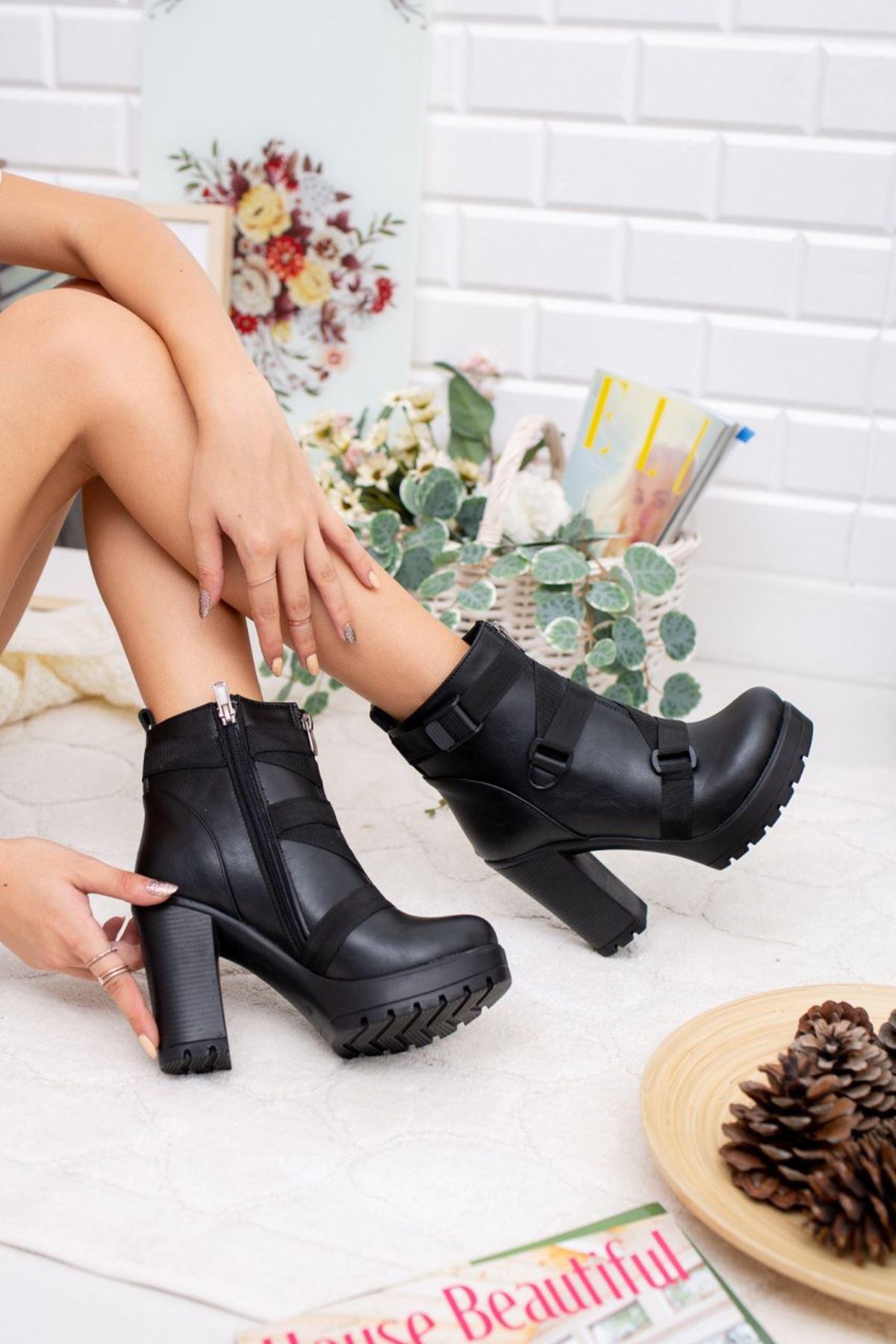 Kadın Depni Çapraz Kemer Yüksek Topuklu Mar Deri Siyah Bot