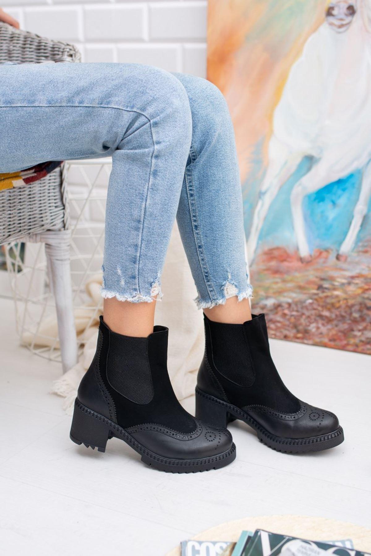 Kadın Lubo Kalın Taban  Lastik Detay Ön Mat Deri Siyah Bot