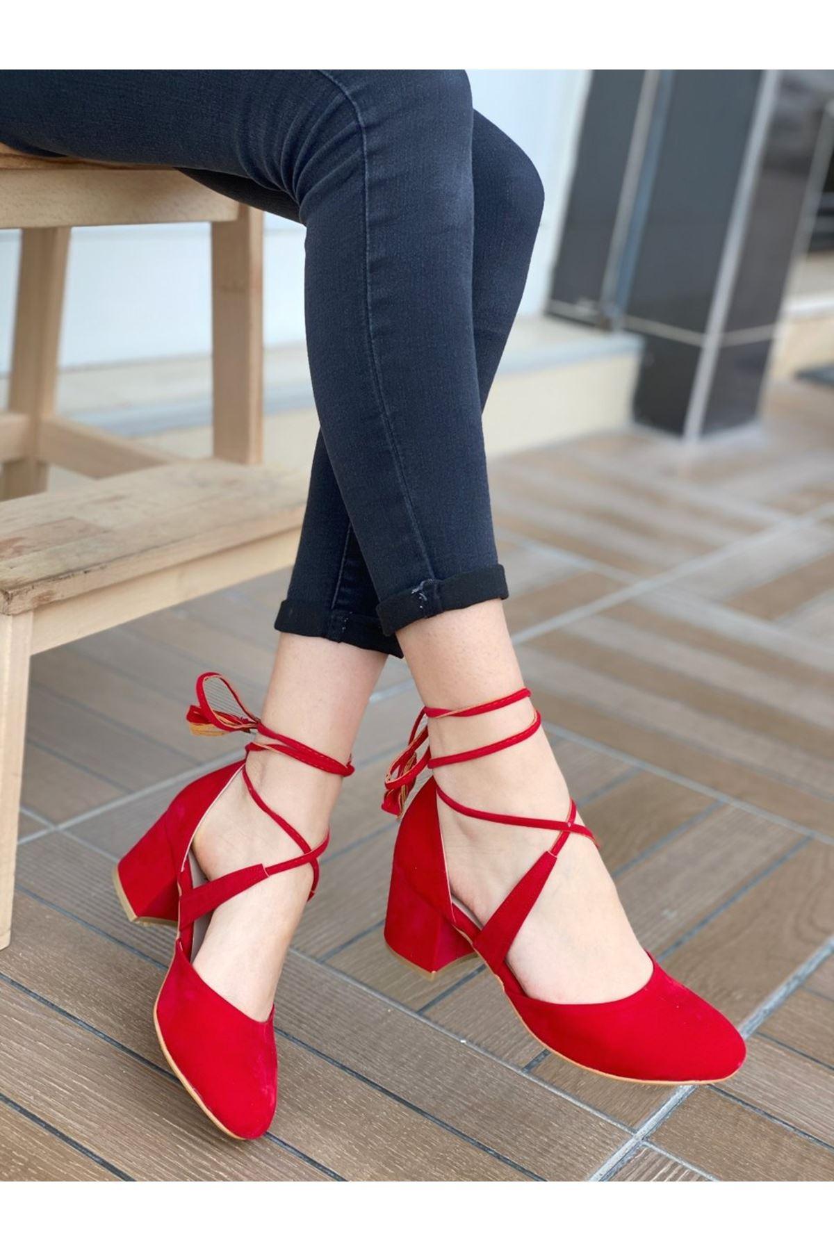 Kadın Vadde Kısa Topuklu Kırmızı Süet Ayakkabı