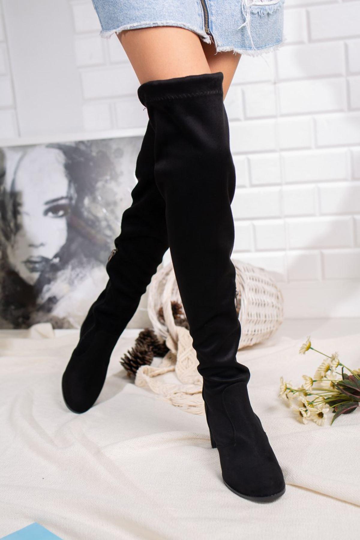 Kadın İzabel Orta Boy Topuk Streç Diz Üstü Siyah Süet Çizme