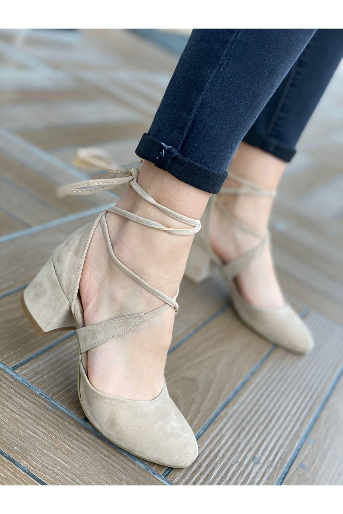 Kadın Vadde Kısa Topuklu Vizon Süet Ayakkabı