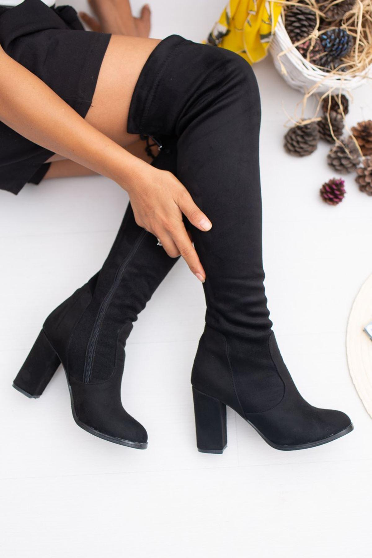 Kadın İzabel Yüksek Topuk Streç Diz Üstü Siyah Süet Çizme