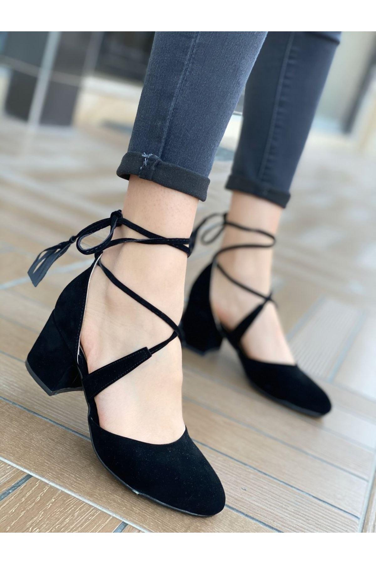 Kadın Vadde Kısa Topuklu Siyah Süet Ayakkabı