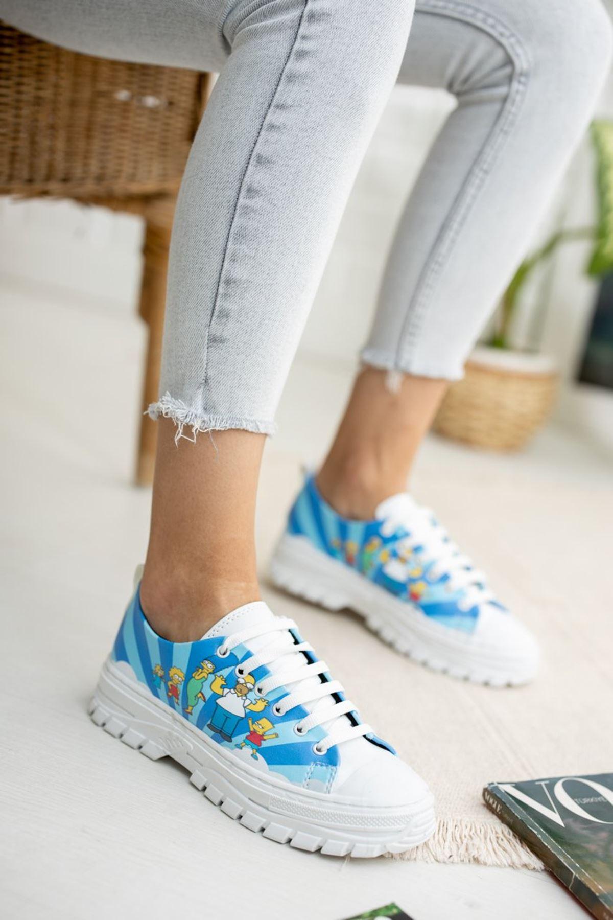 Kadın Late Simpson Baskı Detay Beyaz Spor Ayakkabı