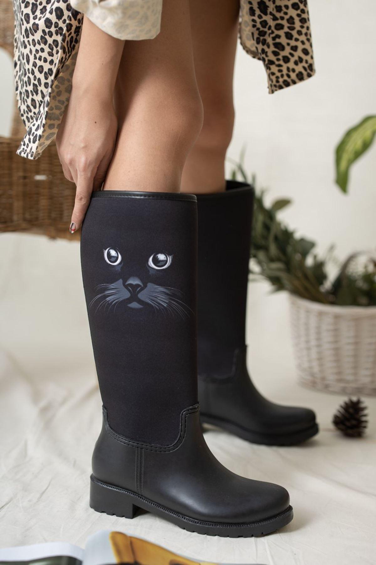 Kadın Cats Kedi Desen Yağmur Çizmesi