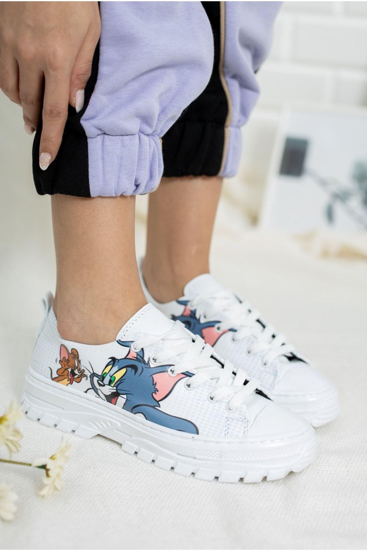 Kadın Late Tom Baskı Detay Beyaz Spor Ayakkabı