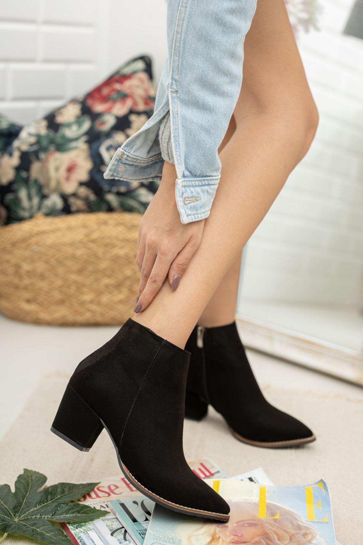 Kadın Salah Kısa Topuk Kovboy Siyah Süet Bot