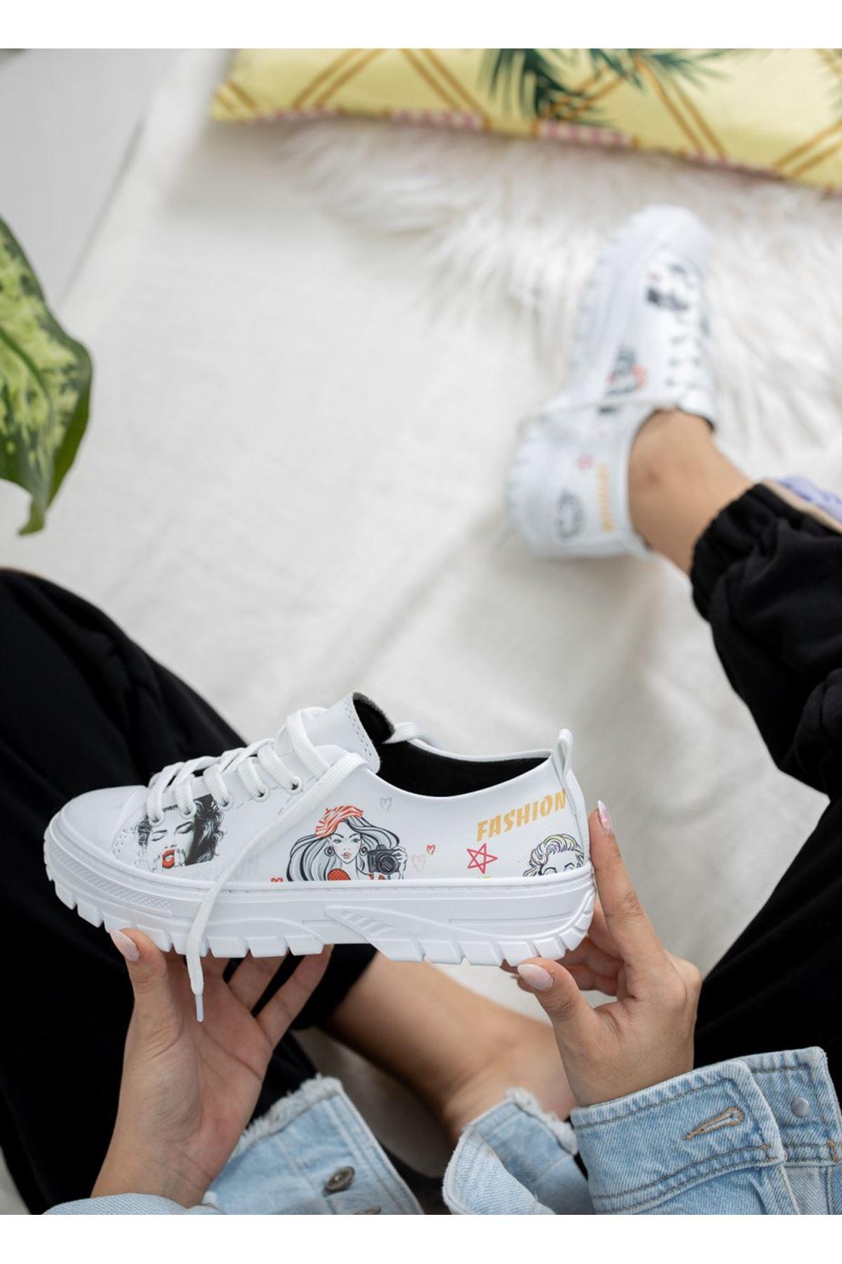 Kadın Late Baskı Detay Beyaz Spor Ayakkabı