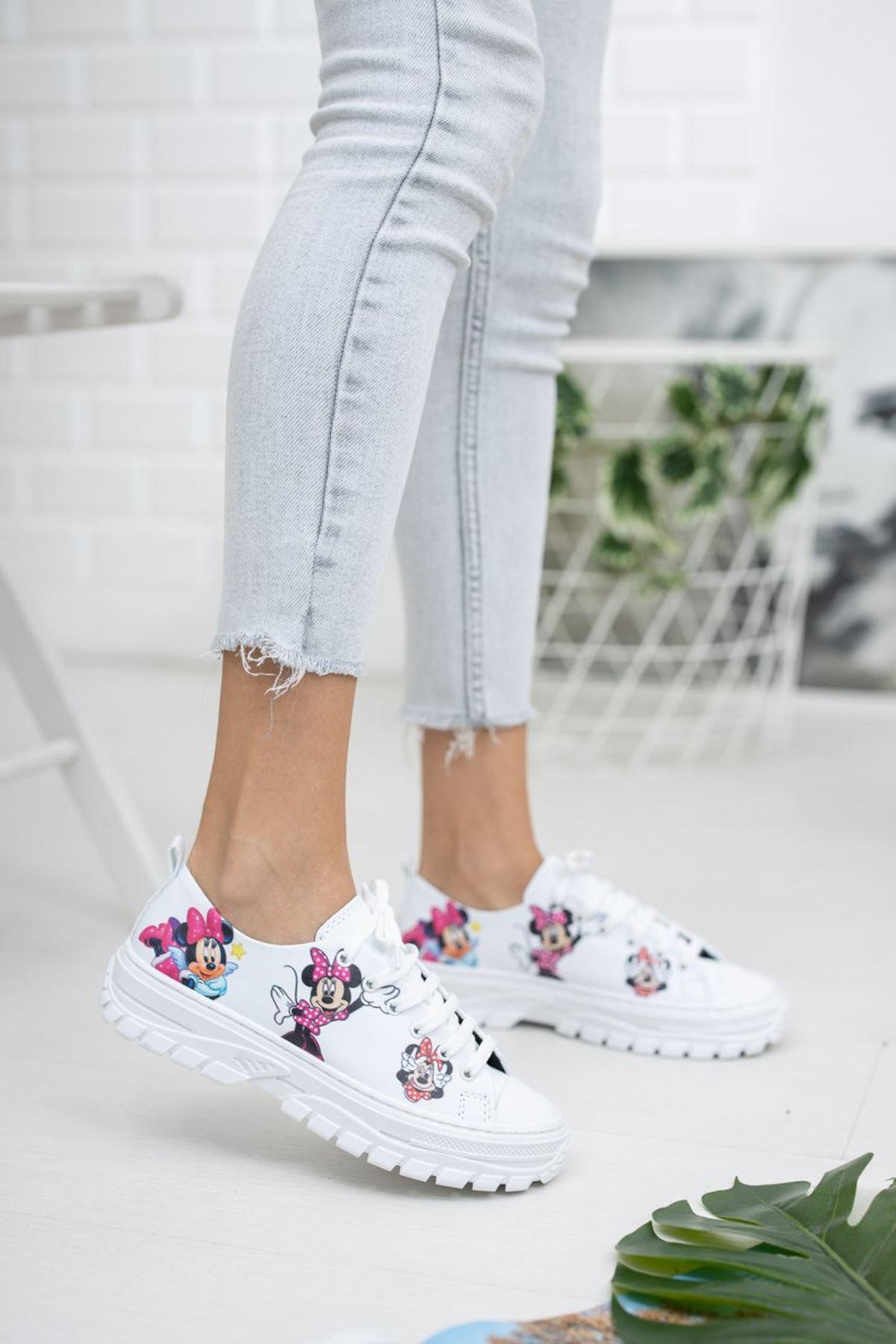 Kadın Late Mini Baskı Detay Beyaz Spor Ayakkabı
