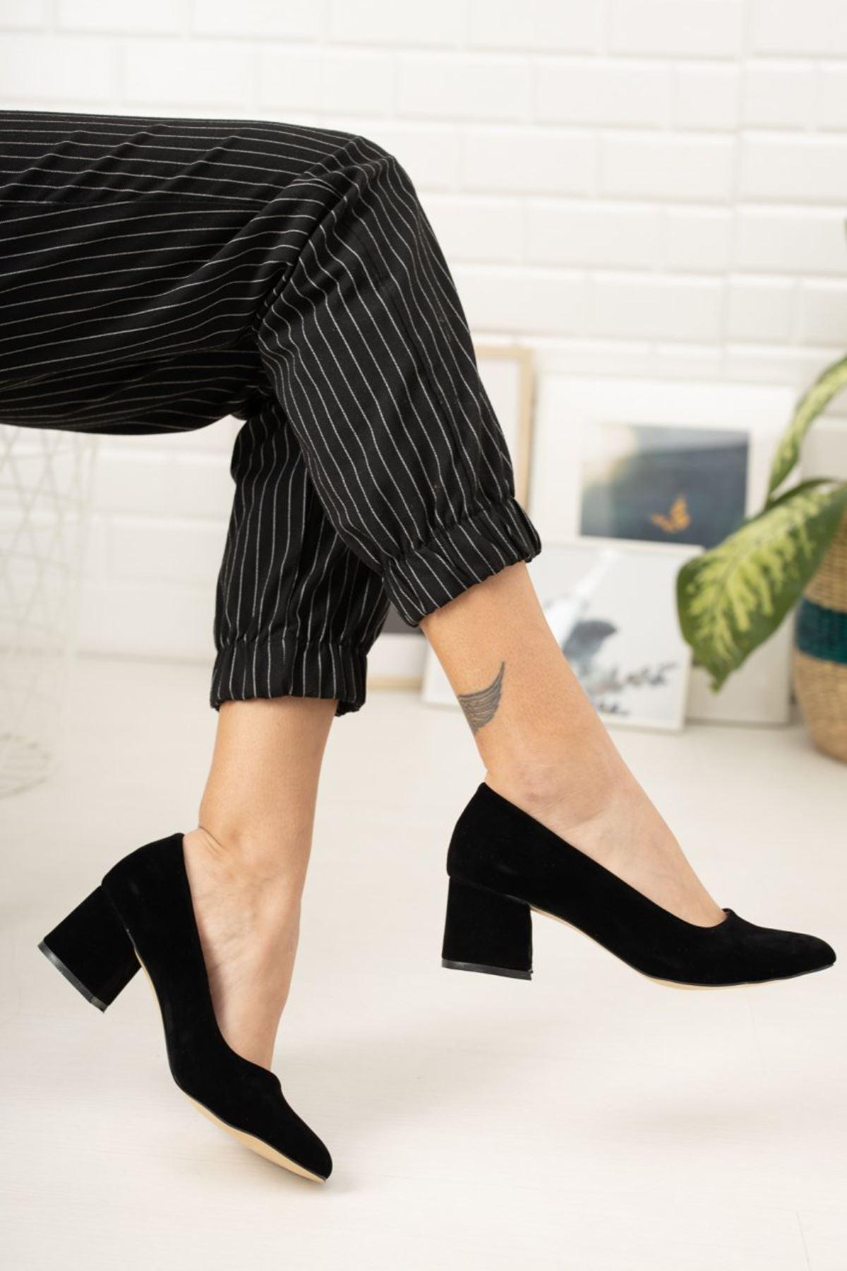 Kadın Voges Kısa Topuklu Siyah Süet Ayakkabı
