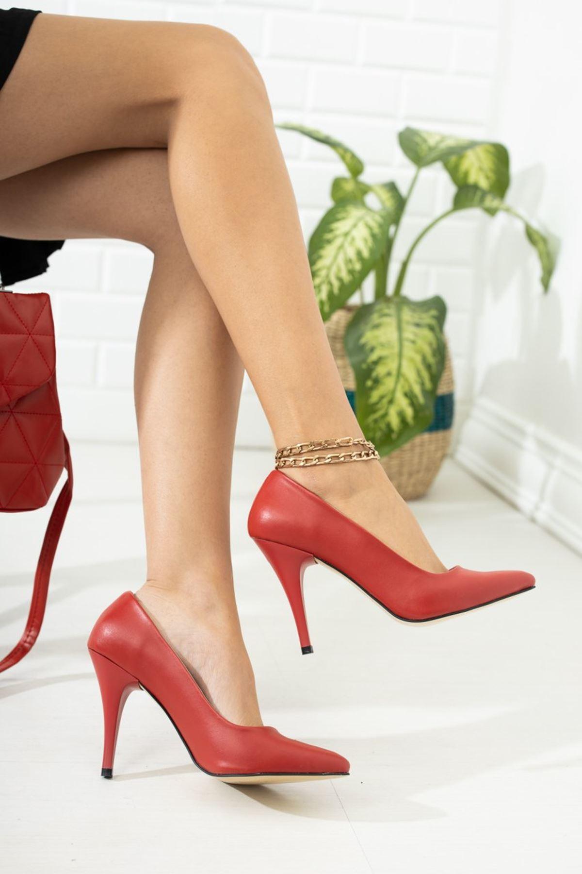 Kadın Ages Yüksek Topuklu Mat Deri Kırmızı Stiletto