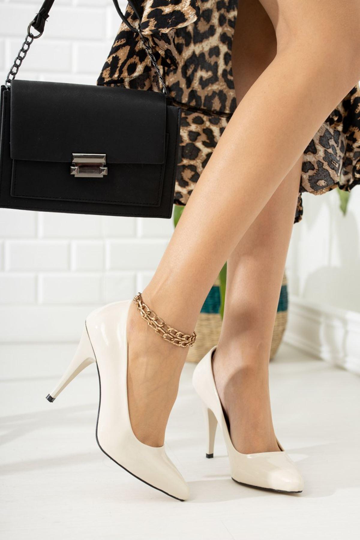 Kadın Ages Yüksek Topuklu Ten Rugan Stiletto