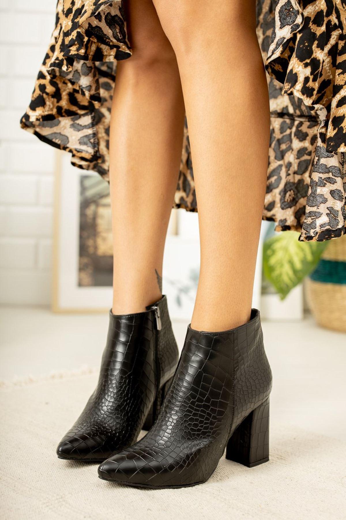 Kadın Oksa Yüksek Topuklu Mat Deri Siyah Kroko Bot