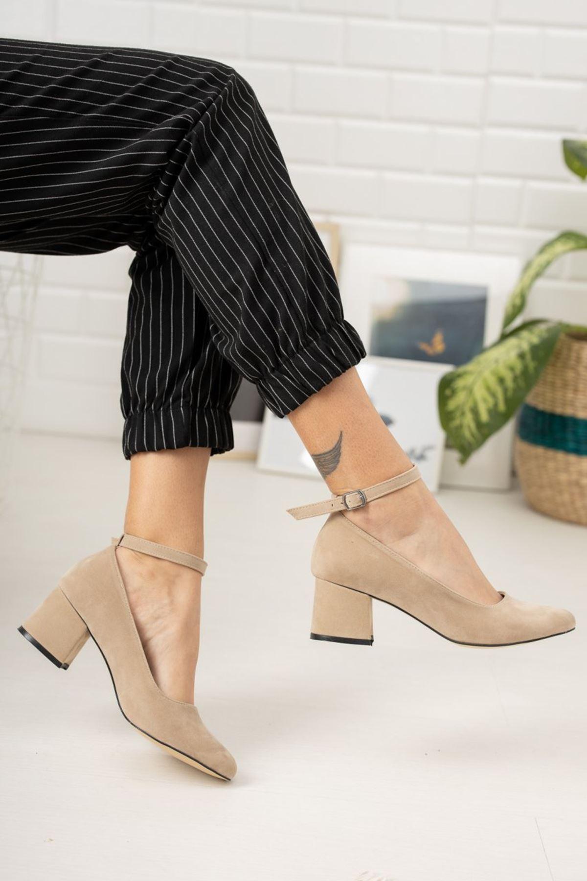 Kadın Barelo Ten Süet Kısa Topuklu Ayakkabı