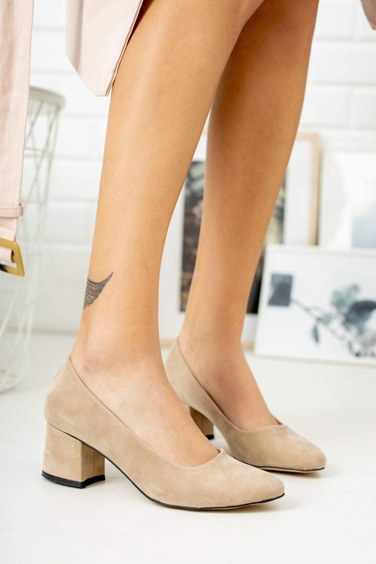 Kadın Voges Kısa Topuklu Ten Süet Ayakkabı