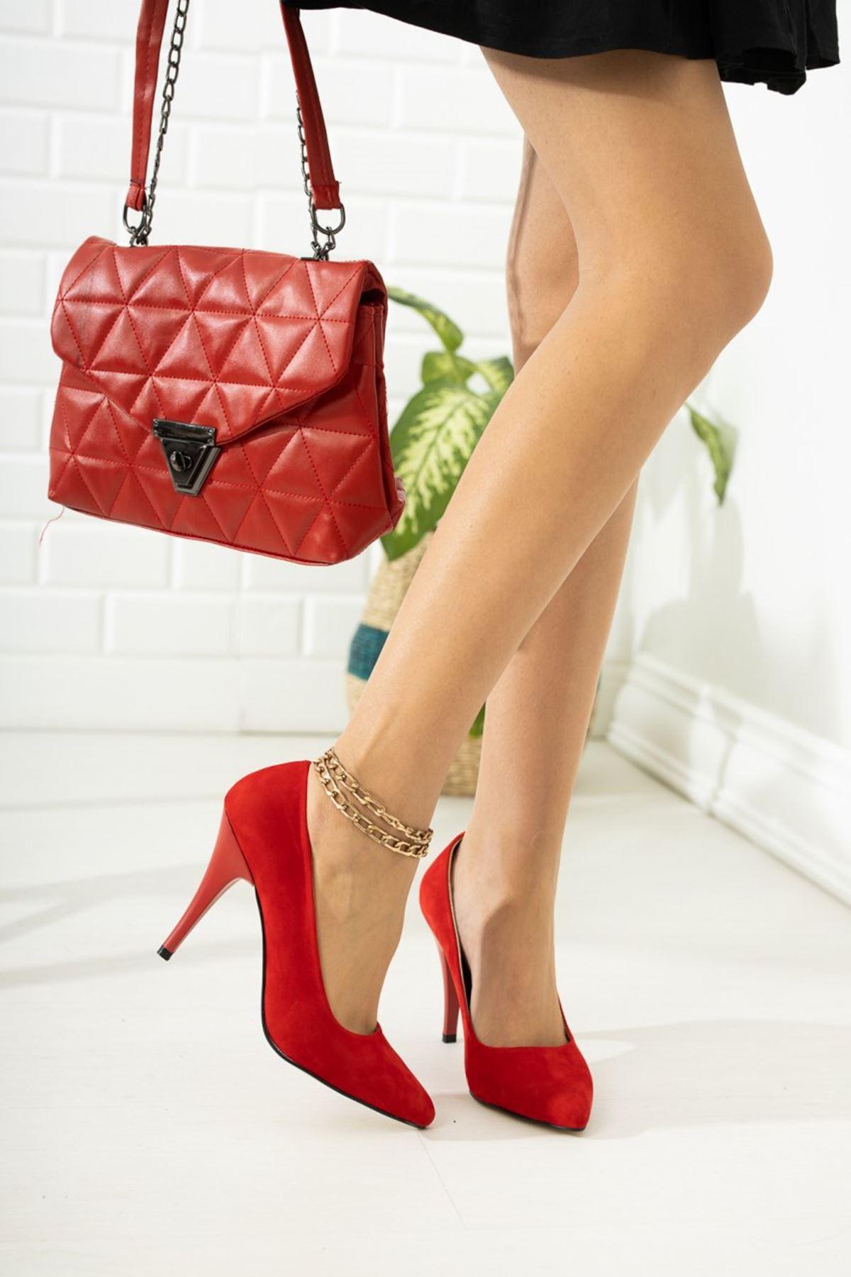 Kadın Ages Yüksek Topuklu Kırmızı Süet Stiletto