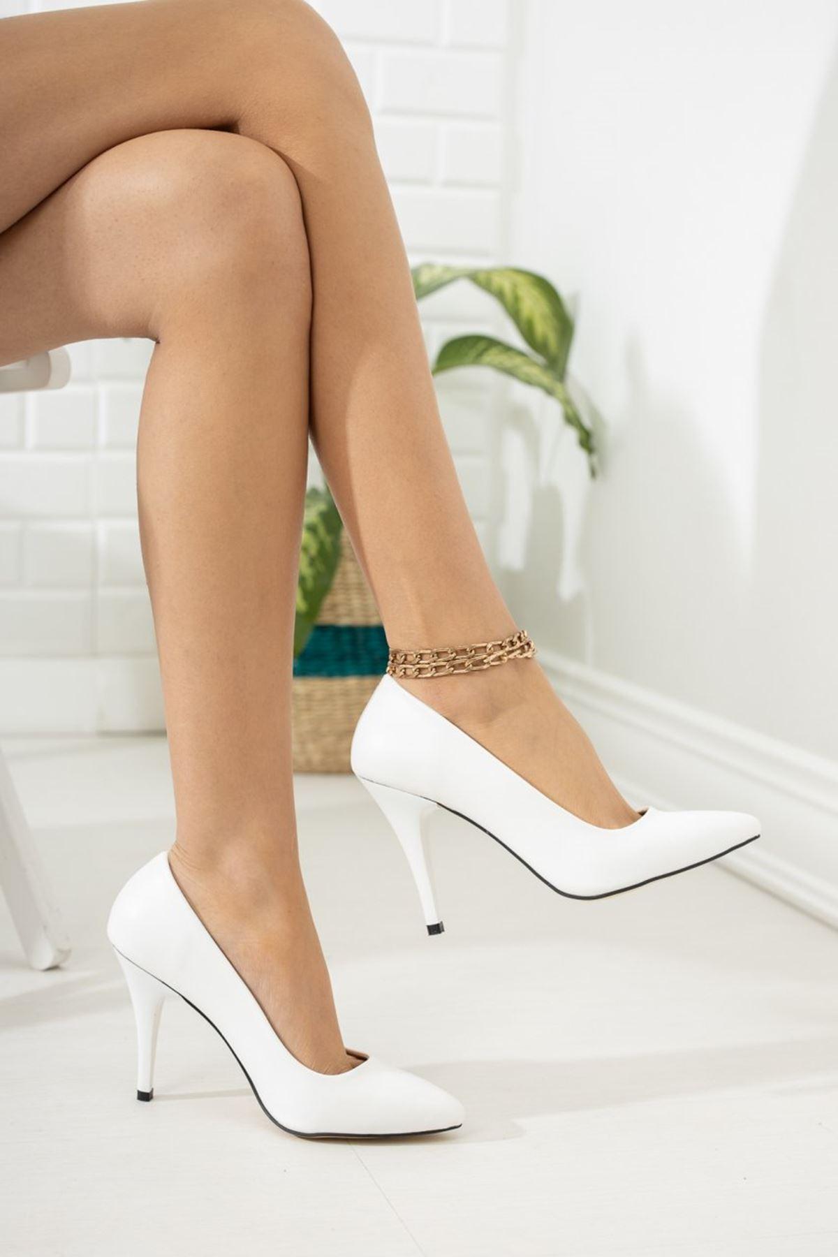 Kadın Ages Yüksek Topuklu Mat Deri Beyaz Stiletto
