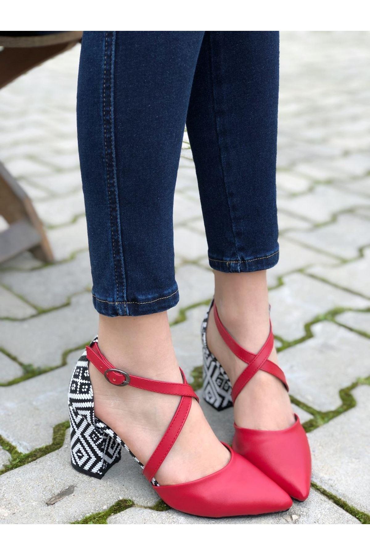 Kadın Lanus Kırmızı Deri Topuklu Ayakkabı