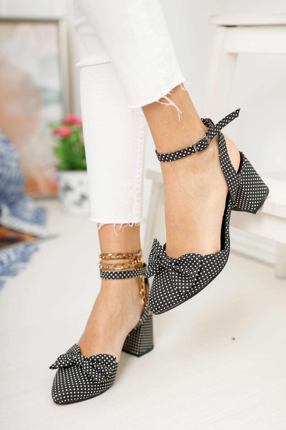Kadın Petas Puantiye Hafif Topuklu Ayakkabı Siyah