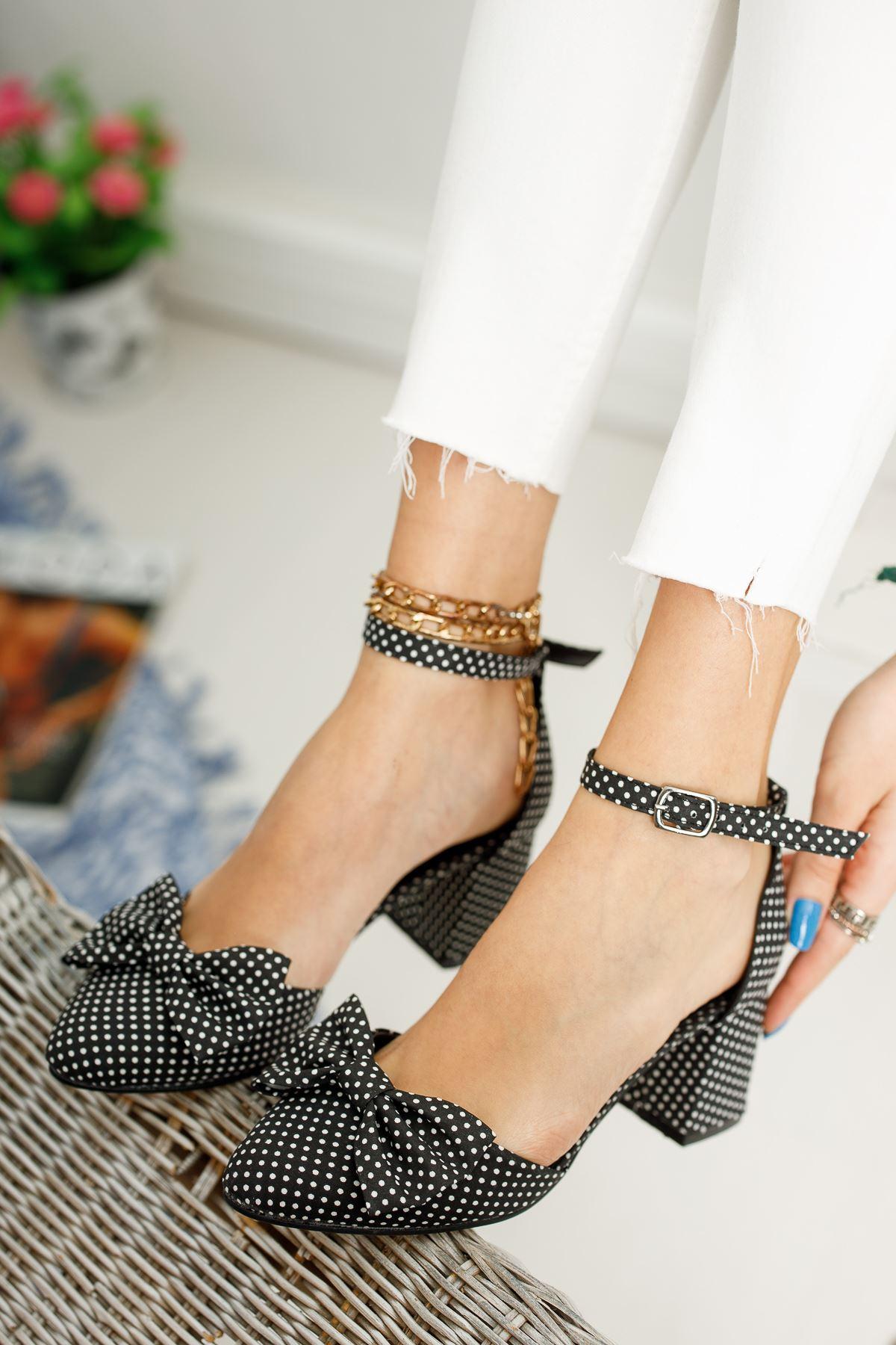 Kadın Polder Puantiye Hafif Topuklu Siyah Ayakkabı