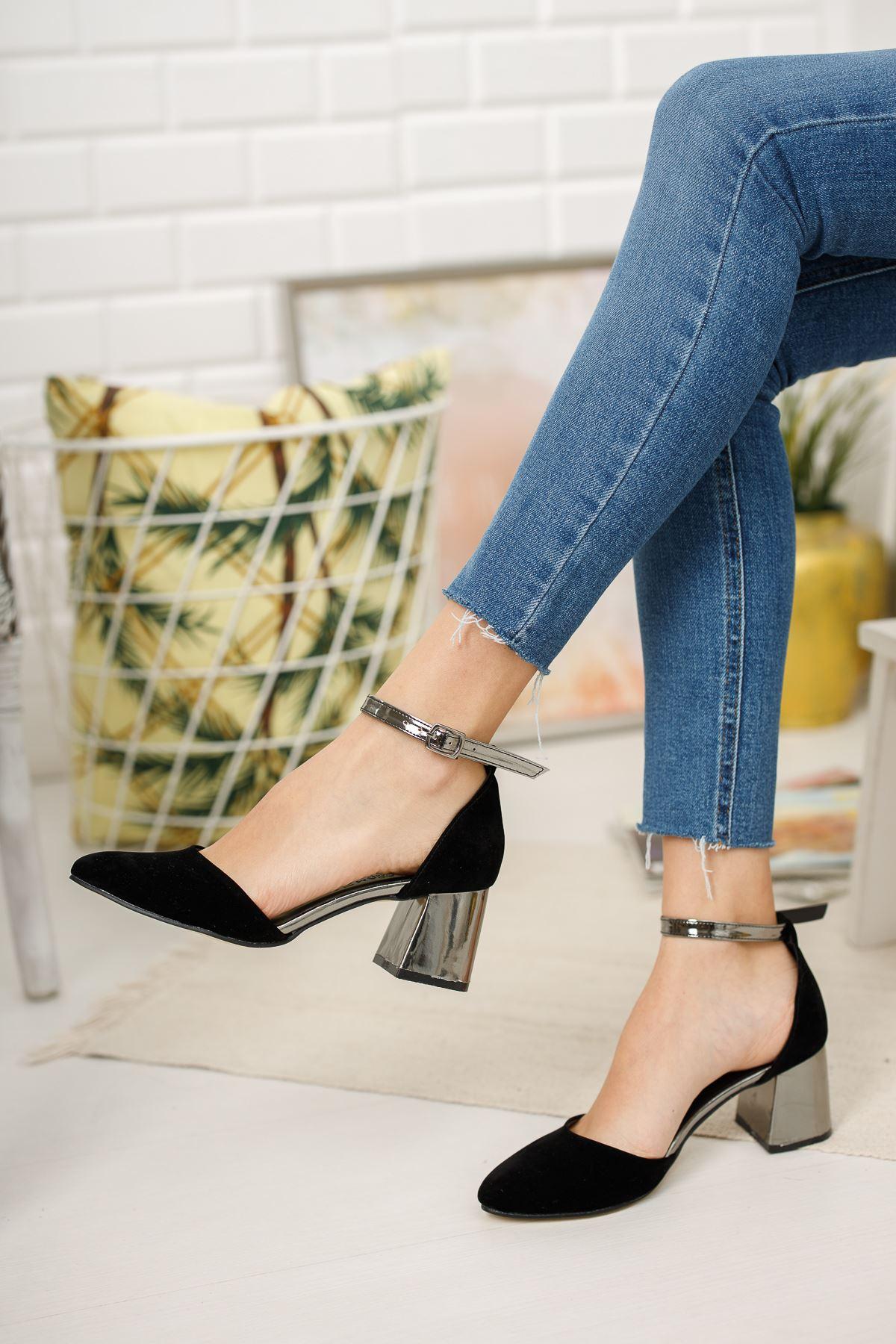Kadın Osvald Siyah Süet Parlak Topuklu Ayakkabı