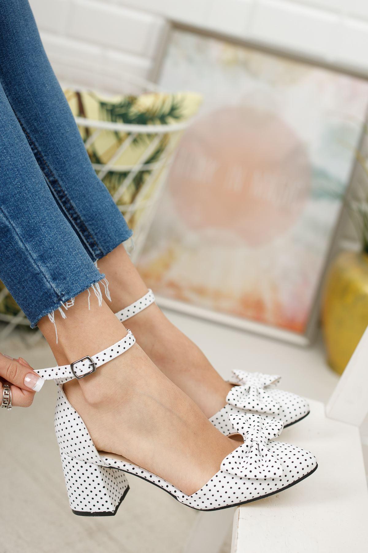 Kadın Polder Puantiye Hafif Topuklu Beyaz Ayakkabı